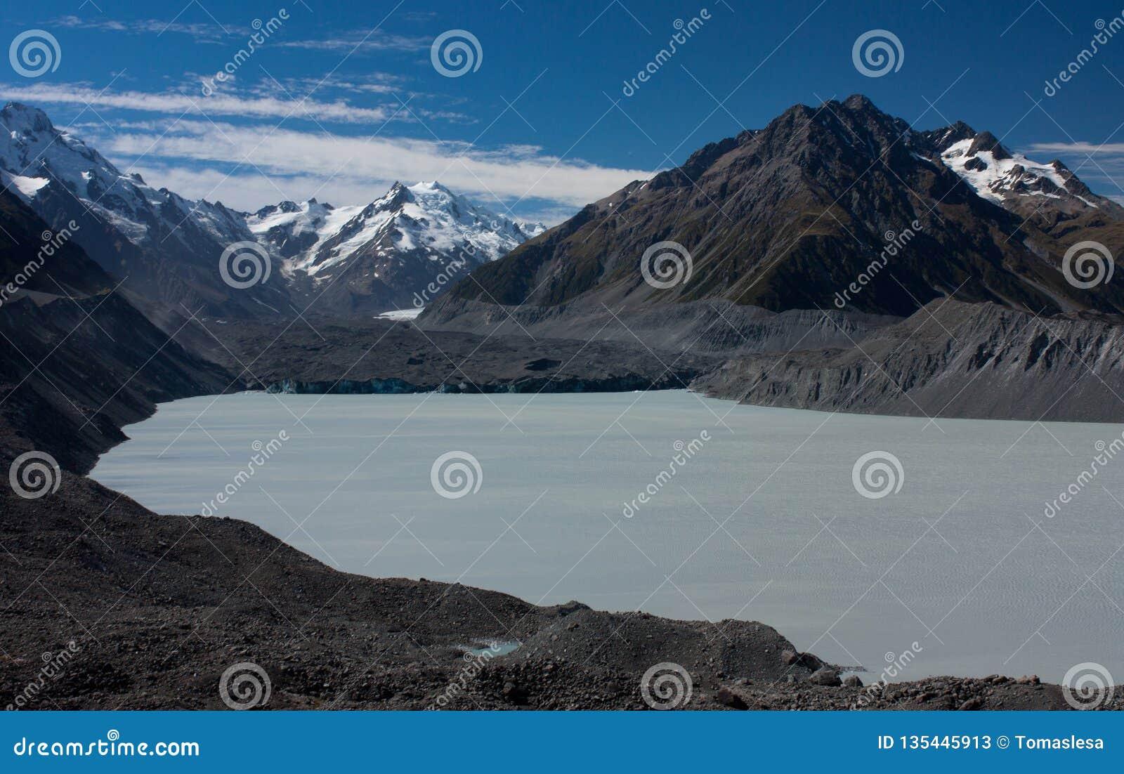 The Tasman Lake by the Tasman Glacier in the Aoraki / Mt. Cook National Park in the South Island in New Zealand