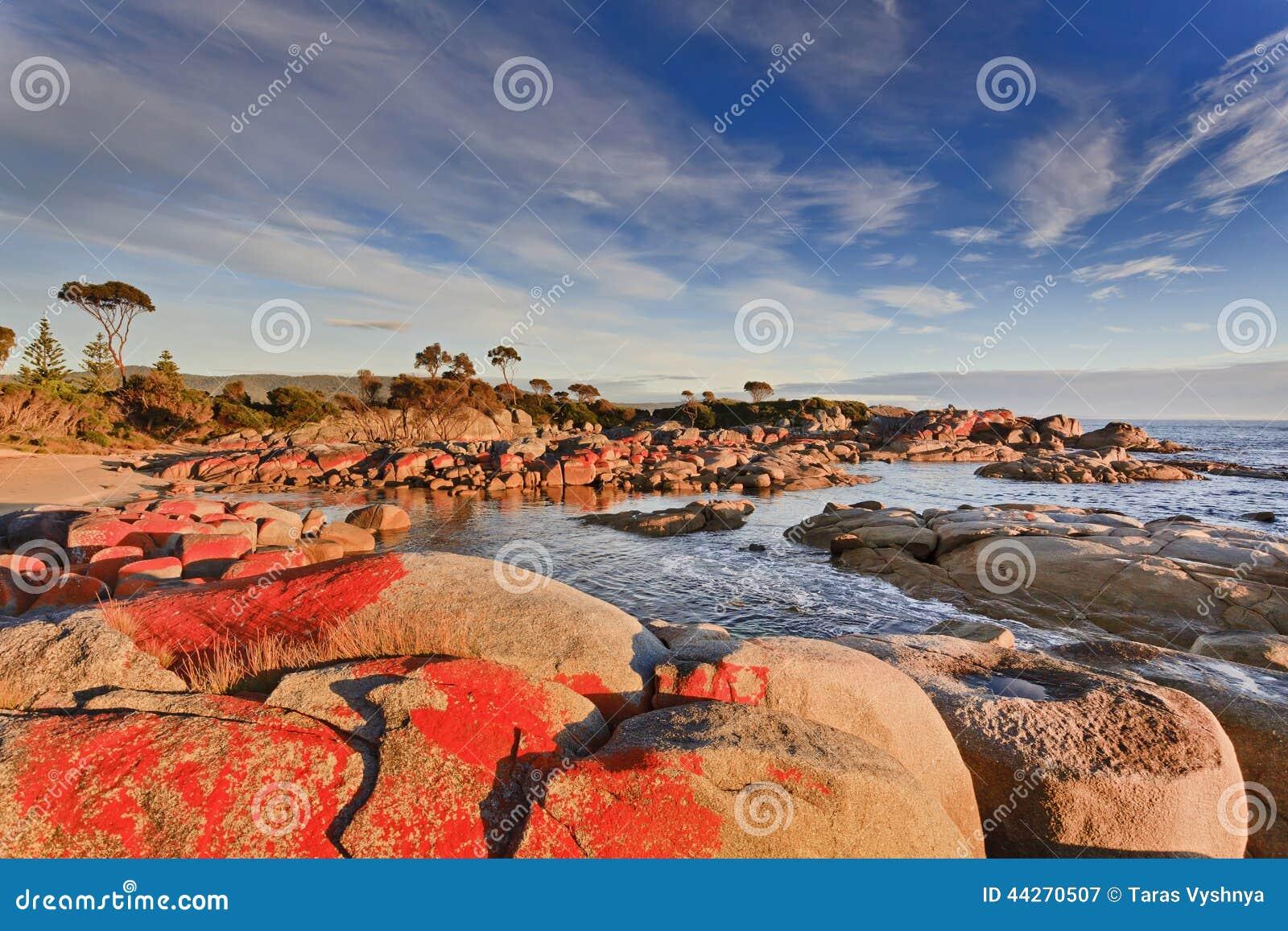 Binalong Bay Australia  city photo : Australia Tasmania Bay of fires binalong bay red boulders at sunrise ...