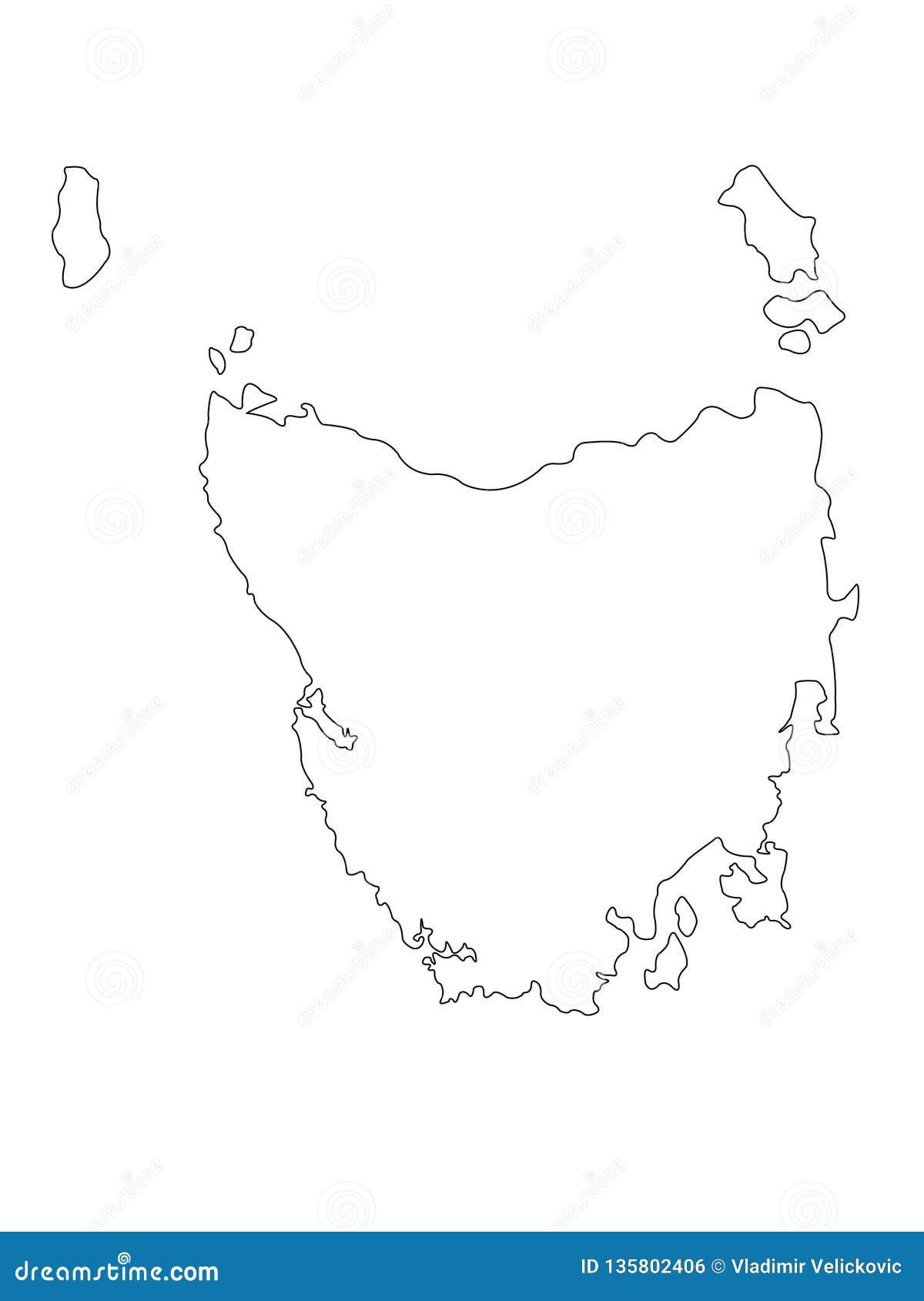Map Of Australia And Tasmania.Tasmania Map Is An Island State Of Australia Stock Vector
