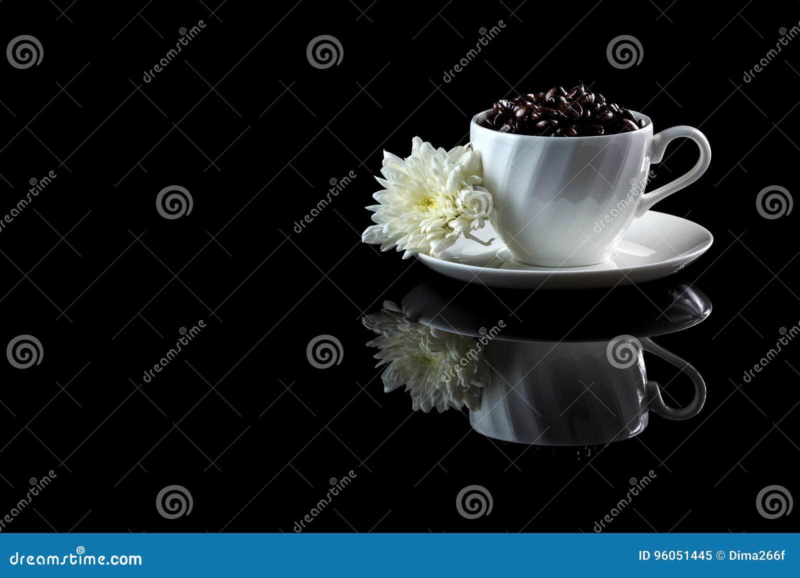 Tasse avec le chrysanthème blanc d anf de grains de café sur un reflecti noir