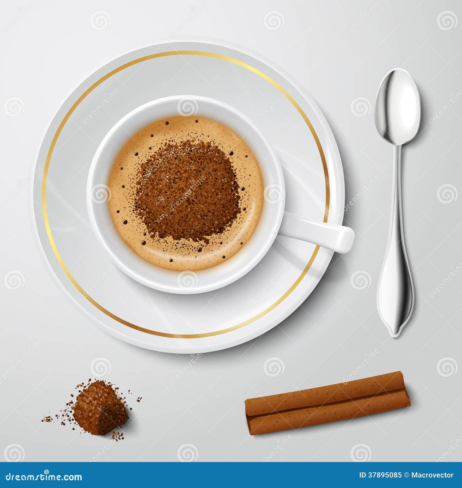 Tasse blanche réaliste avec le cappuccino