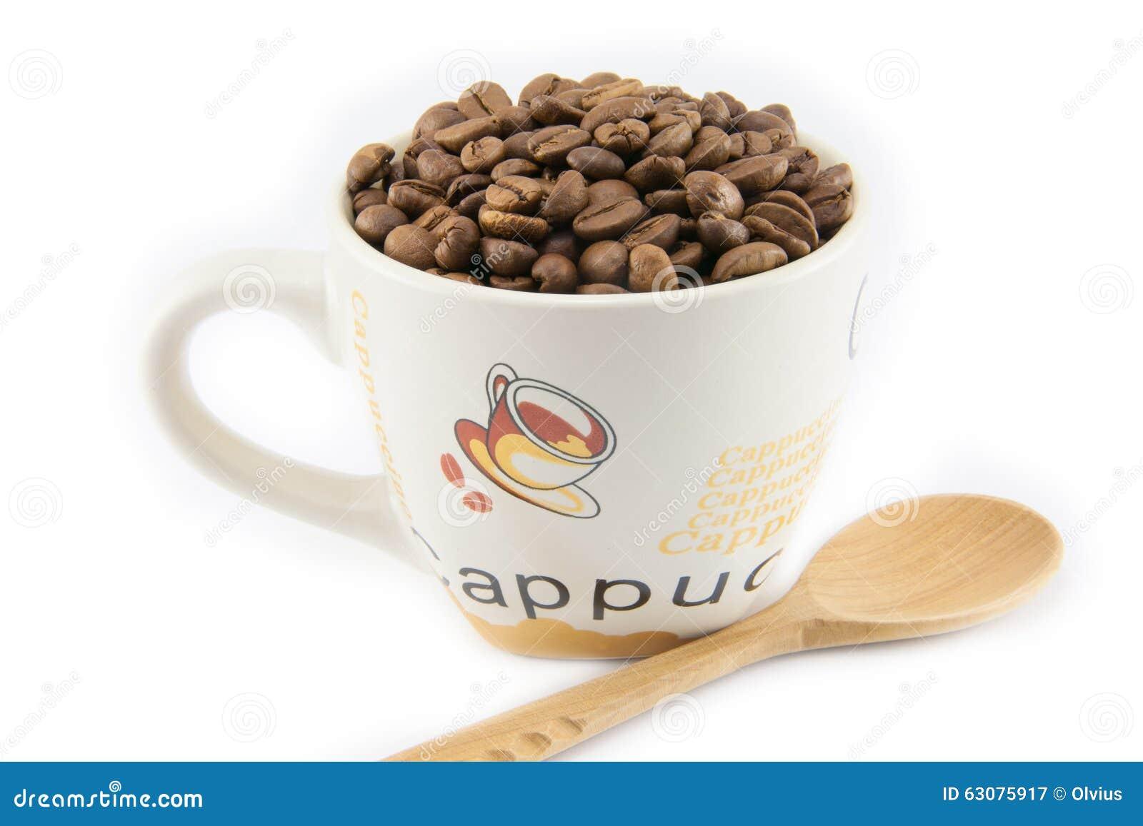 Download Tasse Complètement De Grains De Café D'isolement Image stock - Image du closeup, agriculture: 63075917