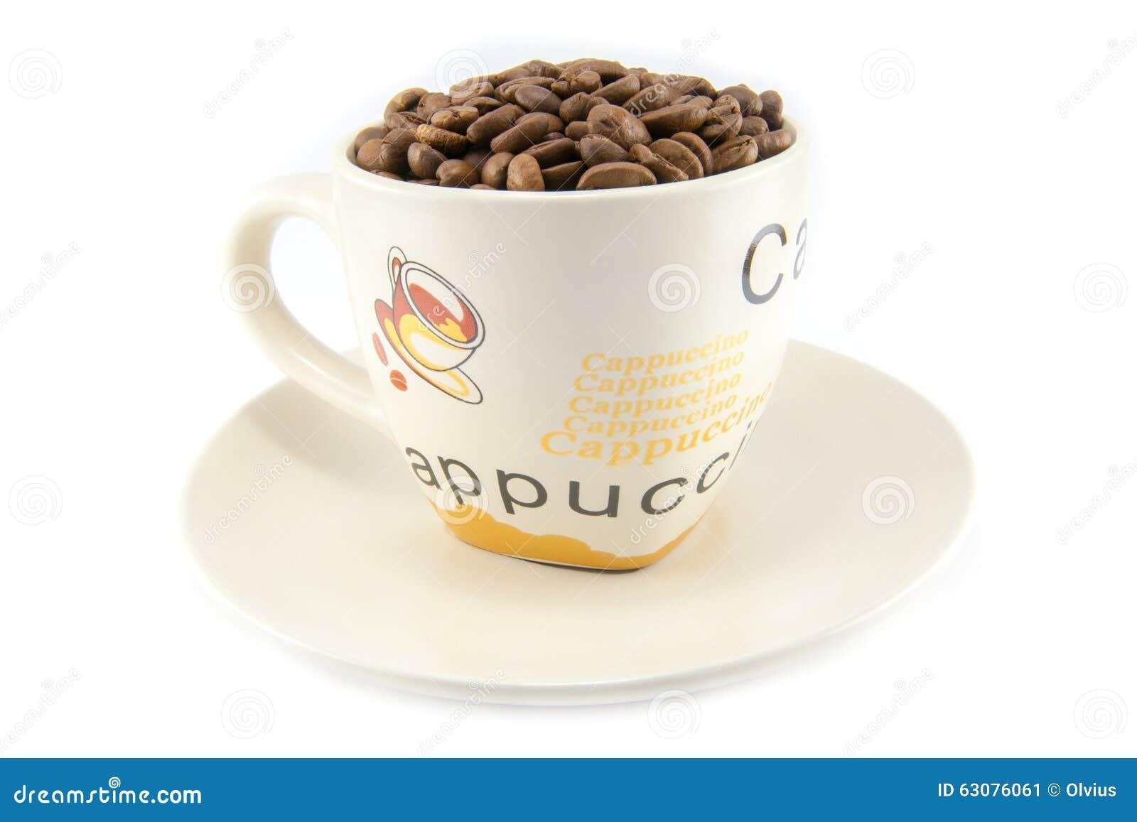 Download Tasse Complètement De Grains De Café D'isolement Image stock - Image du arome, énergie: 63076061