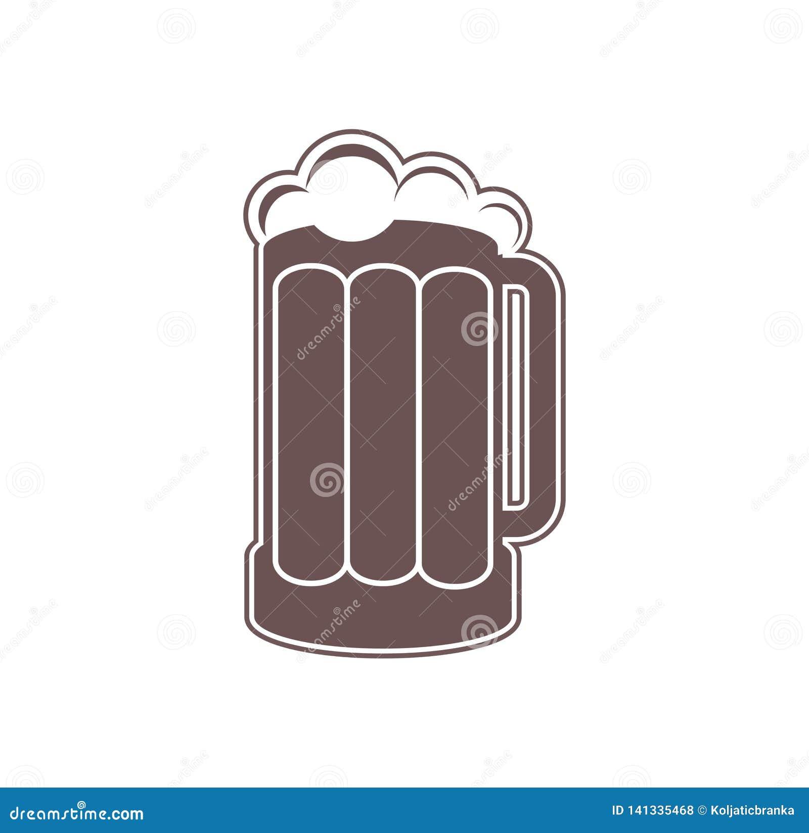 Tasse de bière d isolement sur un fond blanc Illustration de Digital