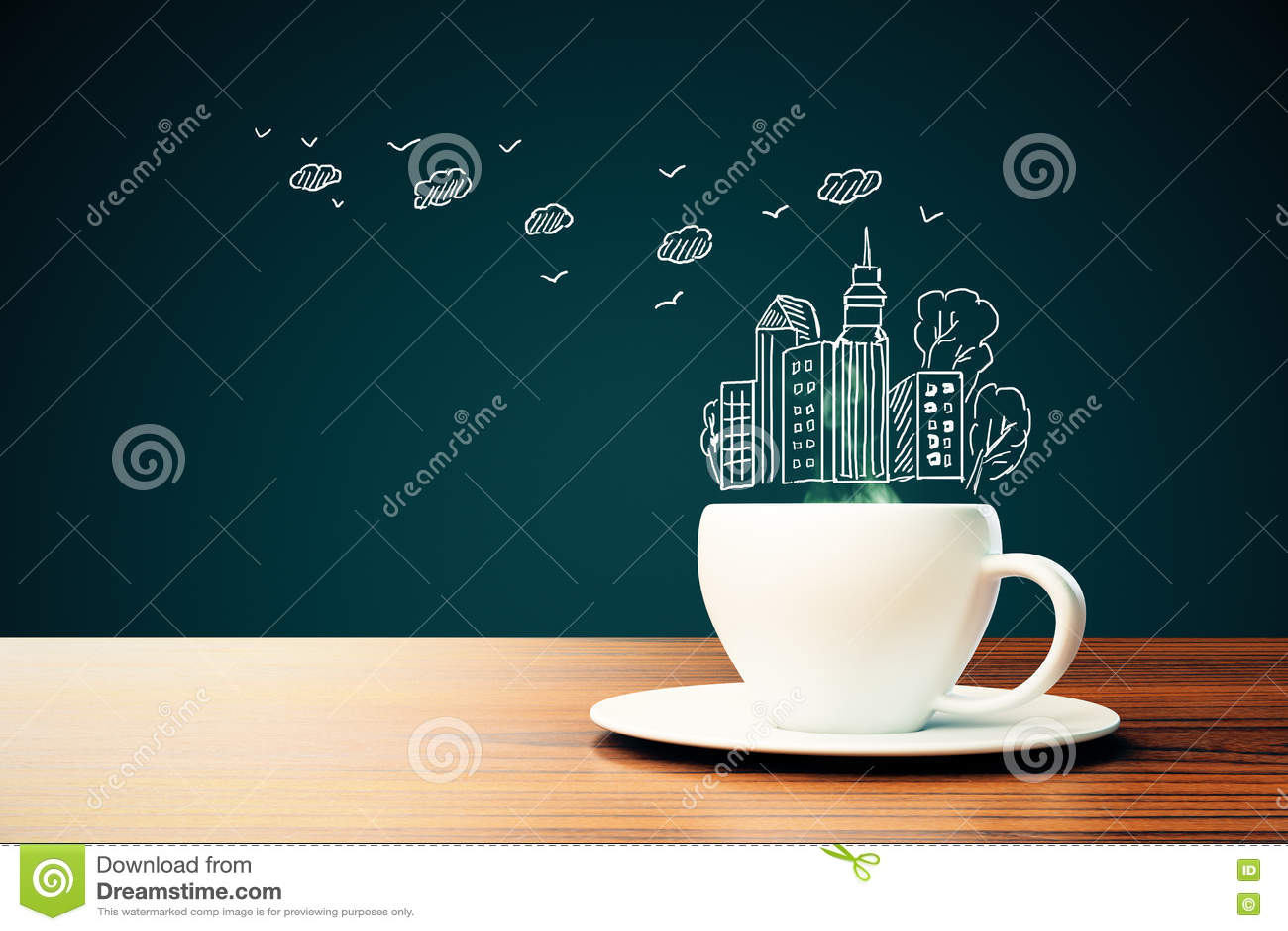 Tasse de café avec le dessin de ville
