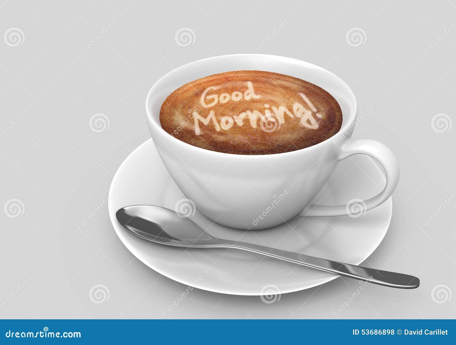 Tasse De Café Avec Un Message Bonjour D Art De Latte