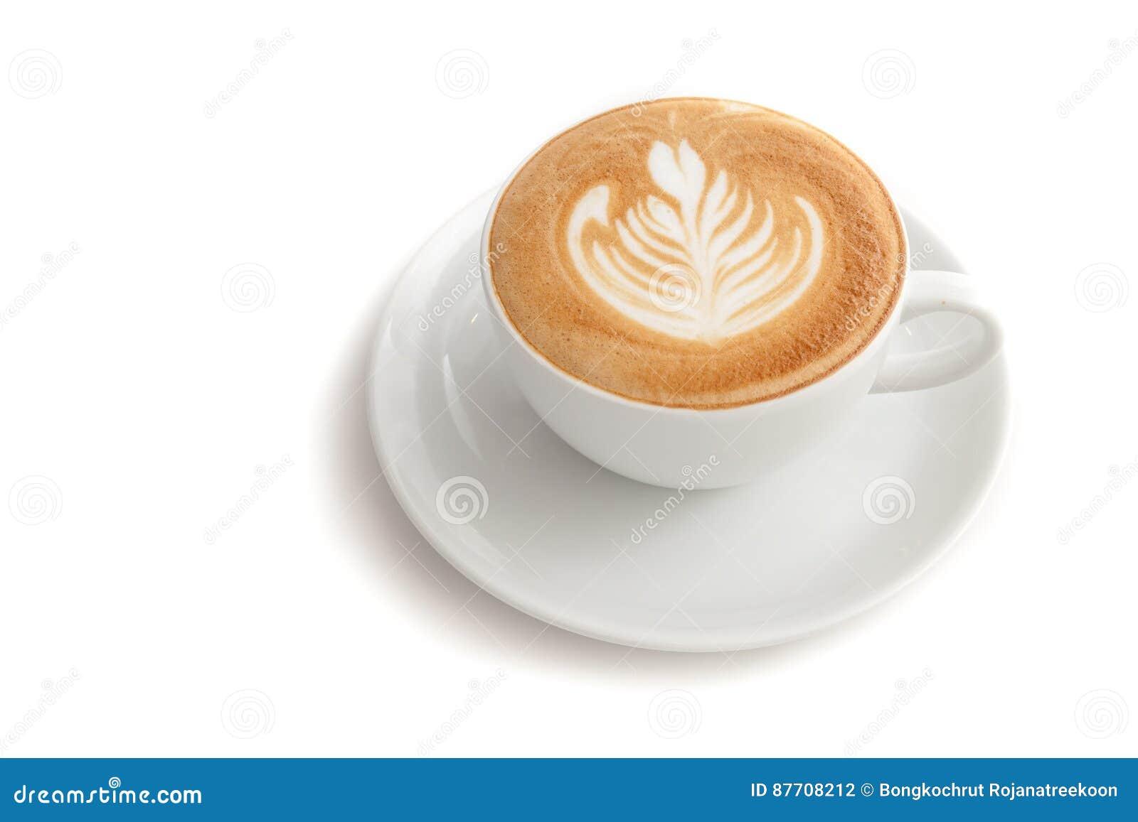 Tasse de café d art de latte de rosetta sur le fond blanc d isolement