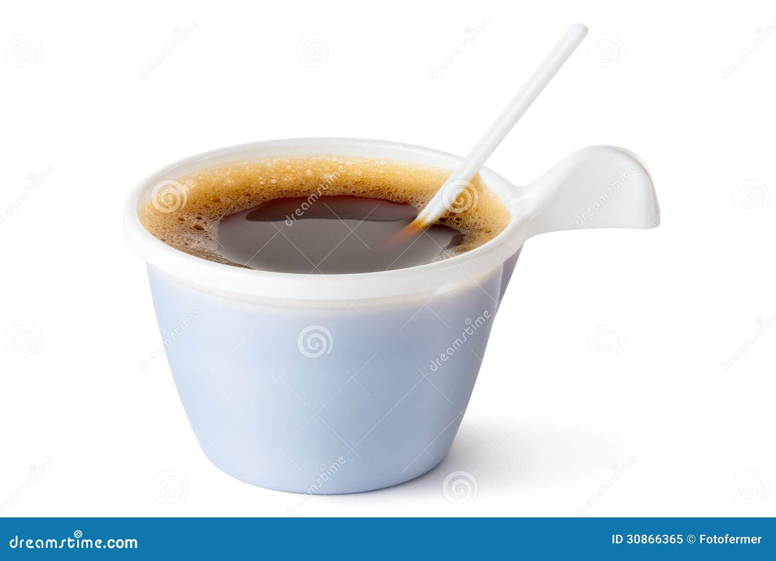 tasse de caf en plastique avec une cuill re photo libre de droits image 30866365. Black Bedroom Furniture Sets. Home Design Ideas