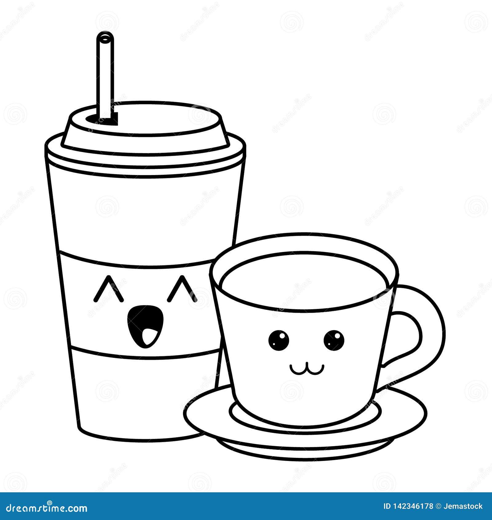 Tasse De Cafe De Glace Et Boire La Bande Dessinee Chaude De Kawaii