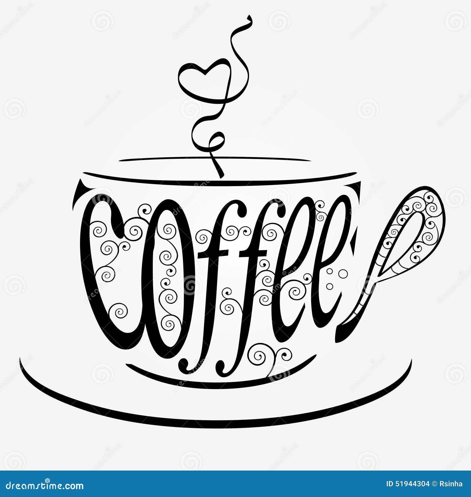 Tasse de caf stylis e illustration stock image 51944304 - Tasse de cafe dessin ...