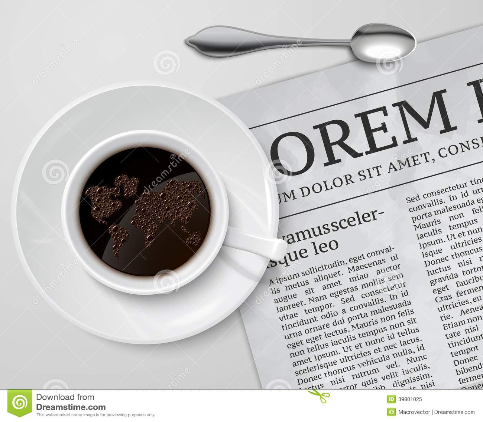 Tasse de café sur le journal