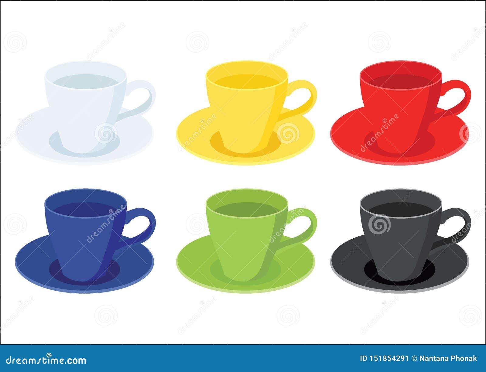 Tasse de café sur le noir vert bleu rouge jaune blanc de couleur multi de soucoupe et de beaucoup de tasses de café