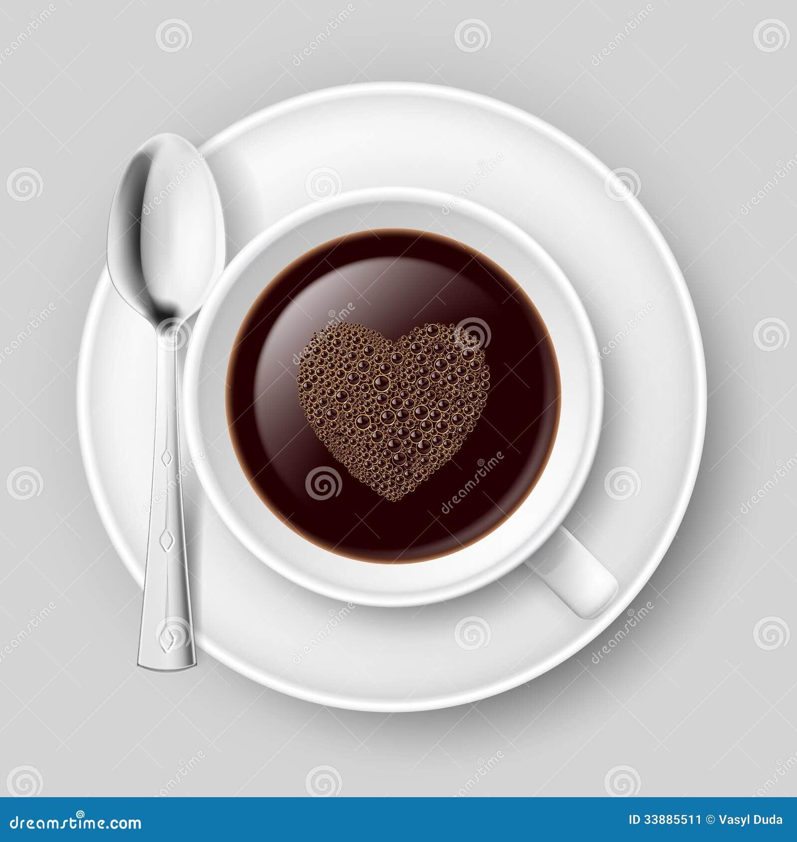 tasse de caf avec le coeur image stock image 33885511. Black Bedroom Furniture Sets. Home Design Ideas