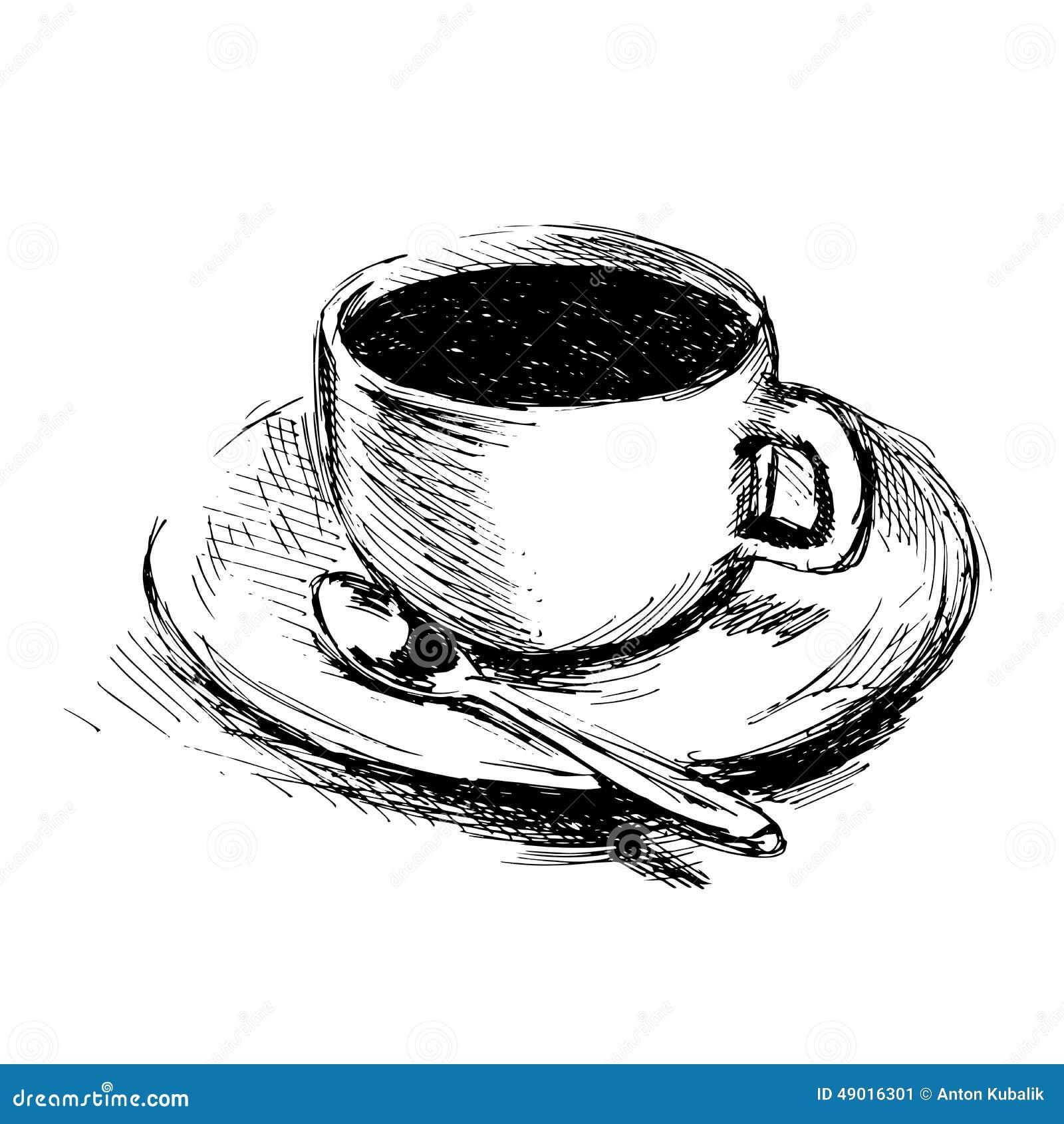 Tasse de caf de dessin de main illustration de vecteur image 49016301 - Tasse de cafe dessin ...