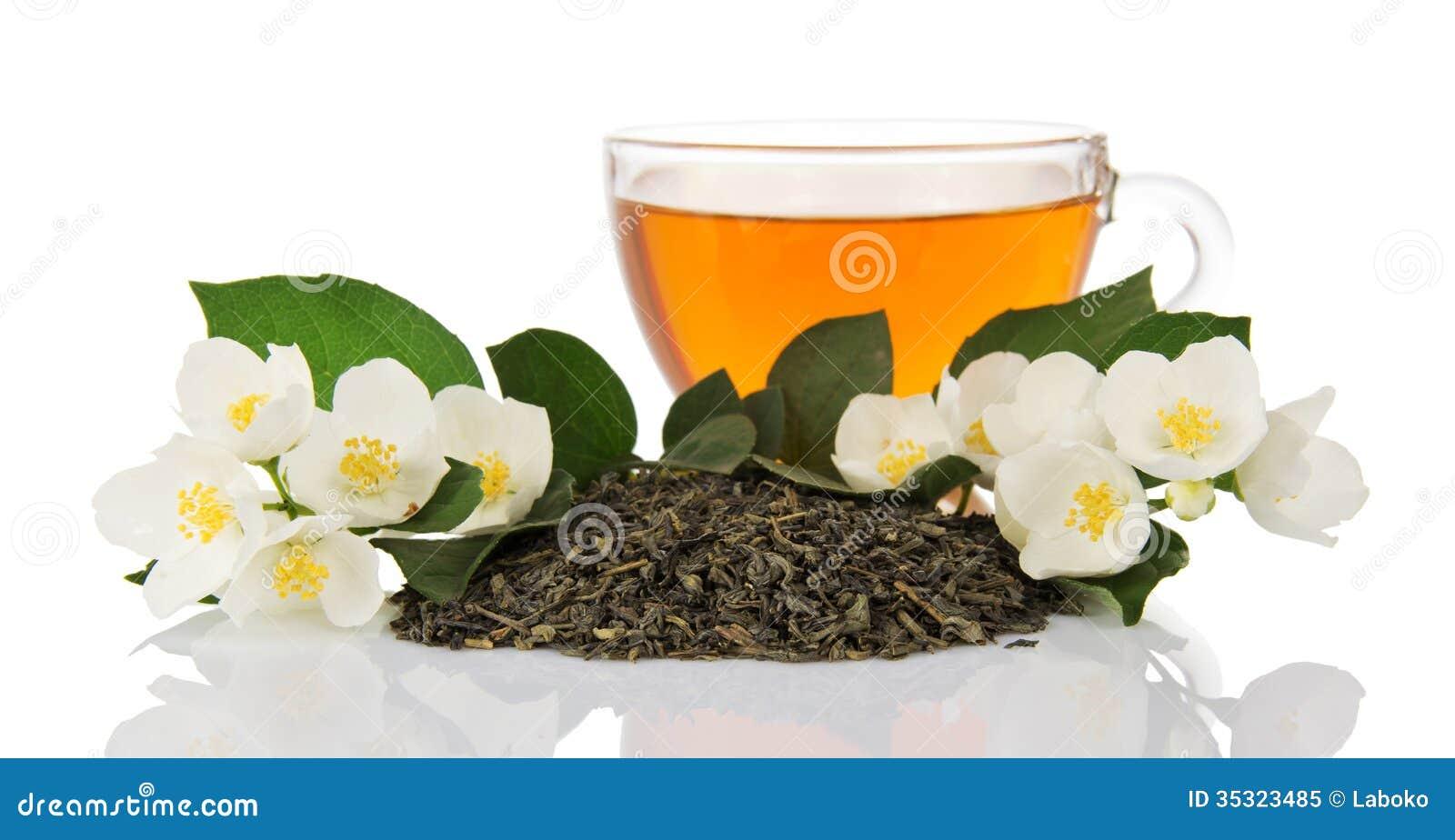 tasse de thé vert avec des fleurs de jasmin photo libre de droits