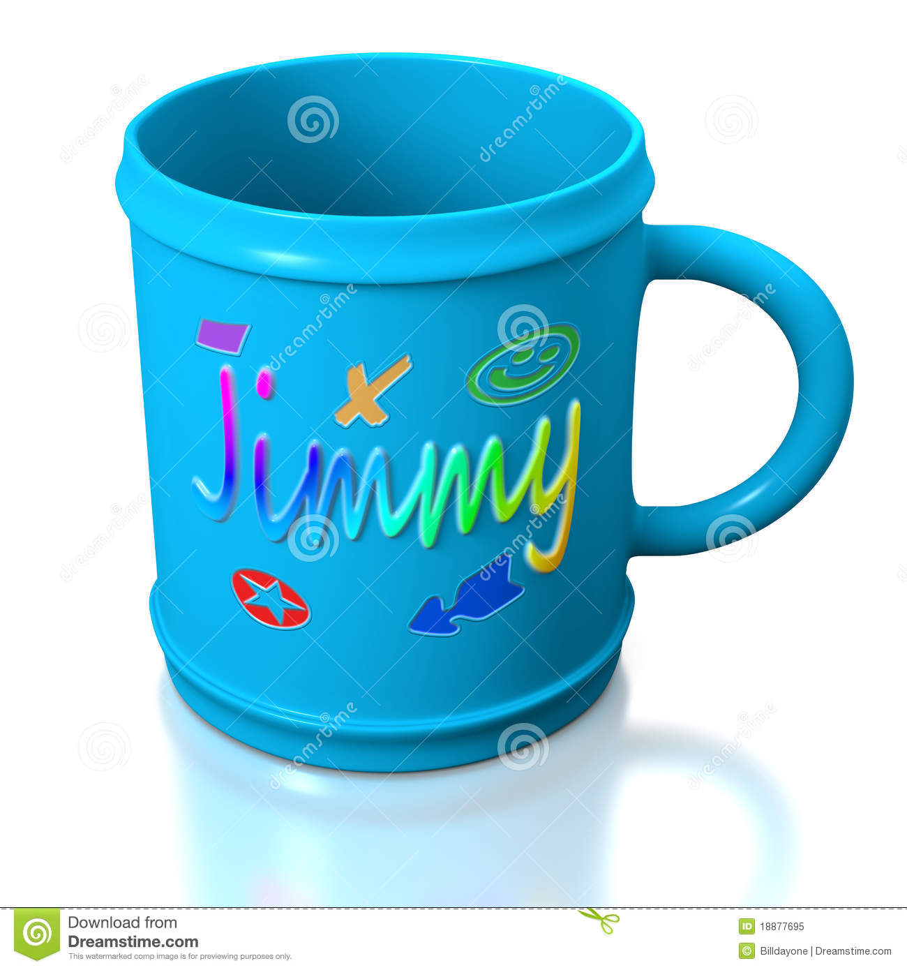 Tasse en plastique personnalis e bleue photo libre de - Creation de tasse personnalisee ...