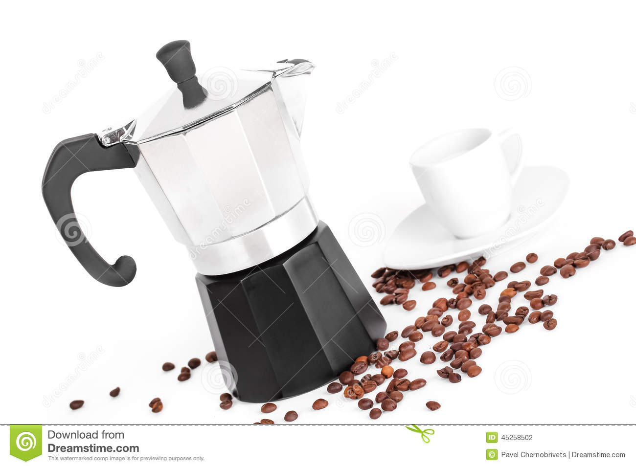 Tasse et cafeti re et grains de caf blancs photo stock image 45258502 - Cafetiere cafe en grain ...