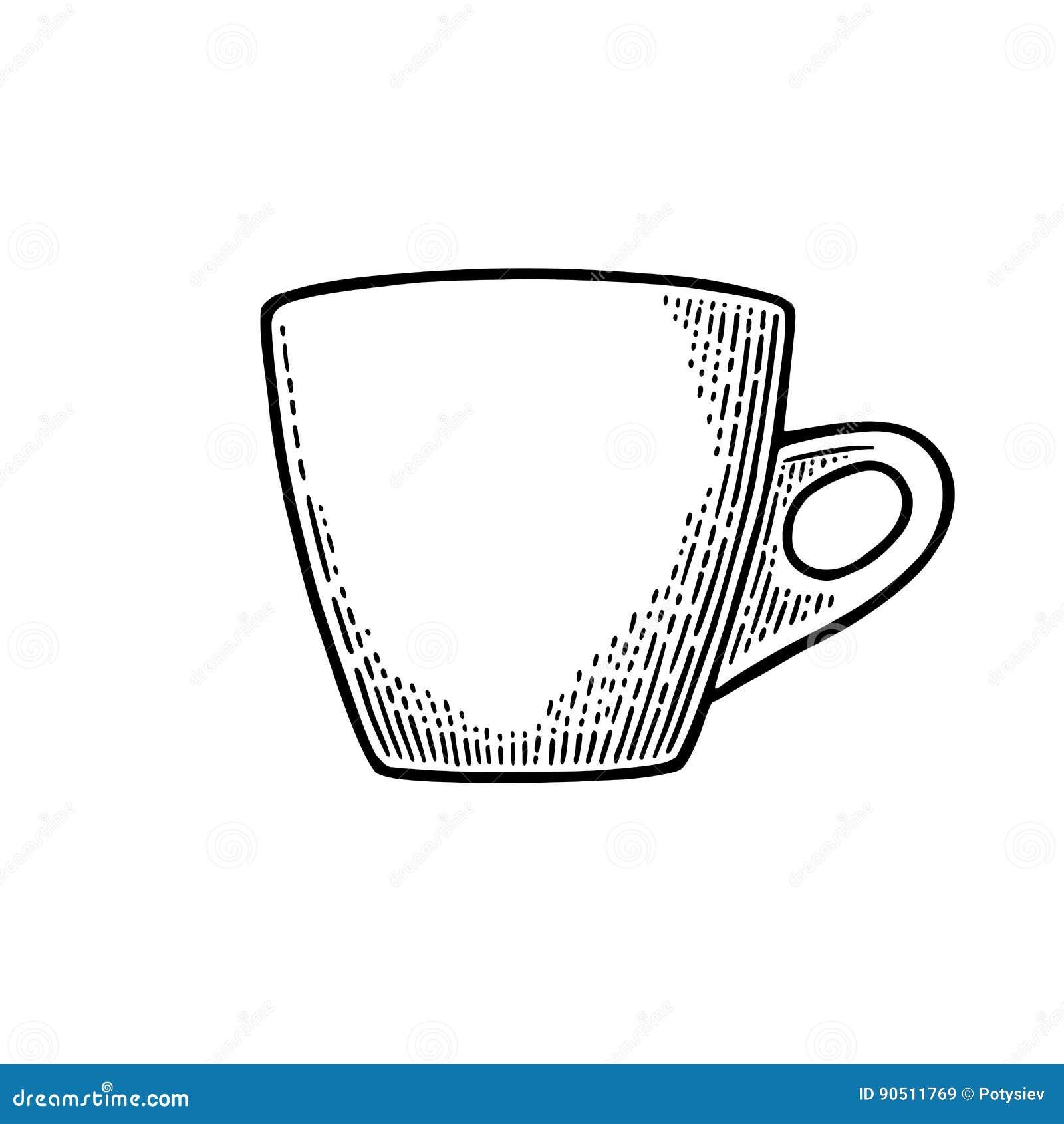 Tasse Kaffee Hand Gezeichnete Skizzenart Schwarzer Vektorstich Der