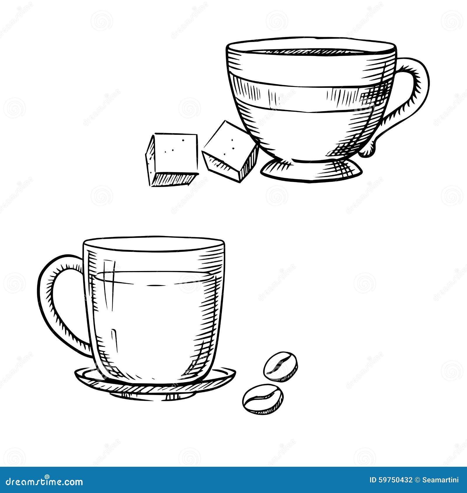 tasse kaffee mit bohnen tee und zucker vektor abbildung bild 59750432. Black Bedroom Furniture Sets. Home Design Ideas