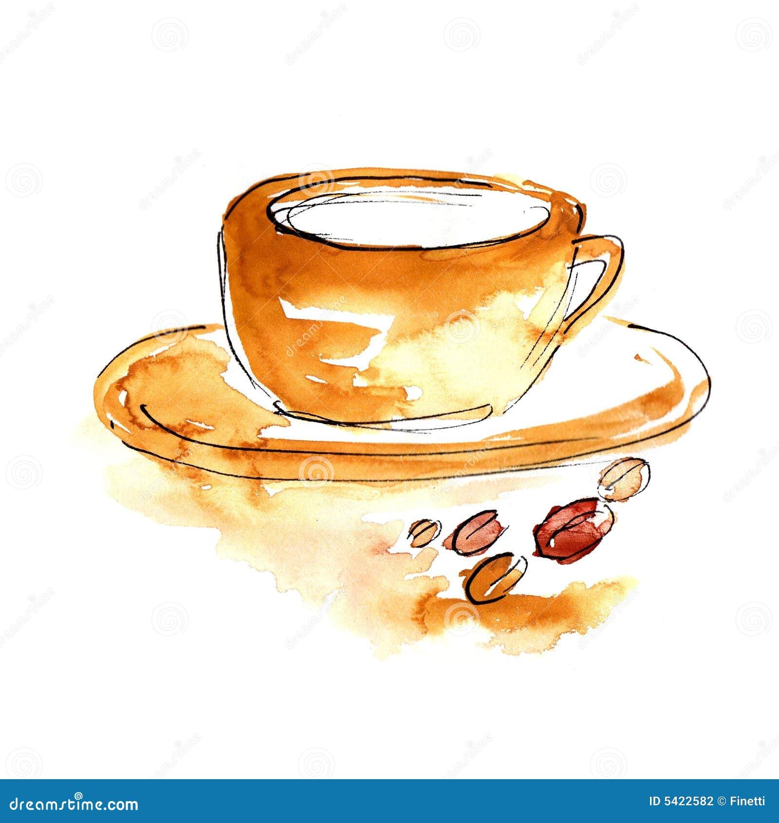 Tasse Kaffee Mit Coffeebeans Stock Abbildung - Illustration von ...