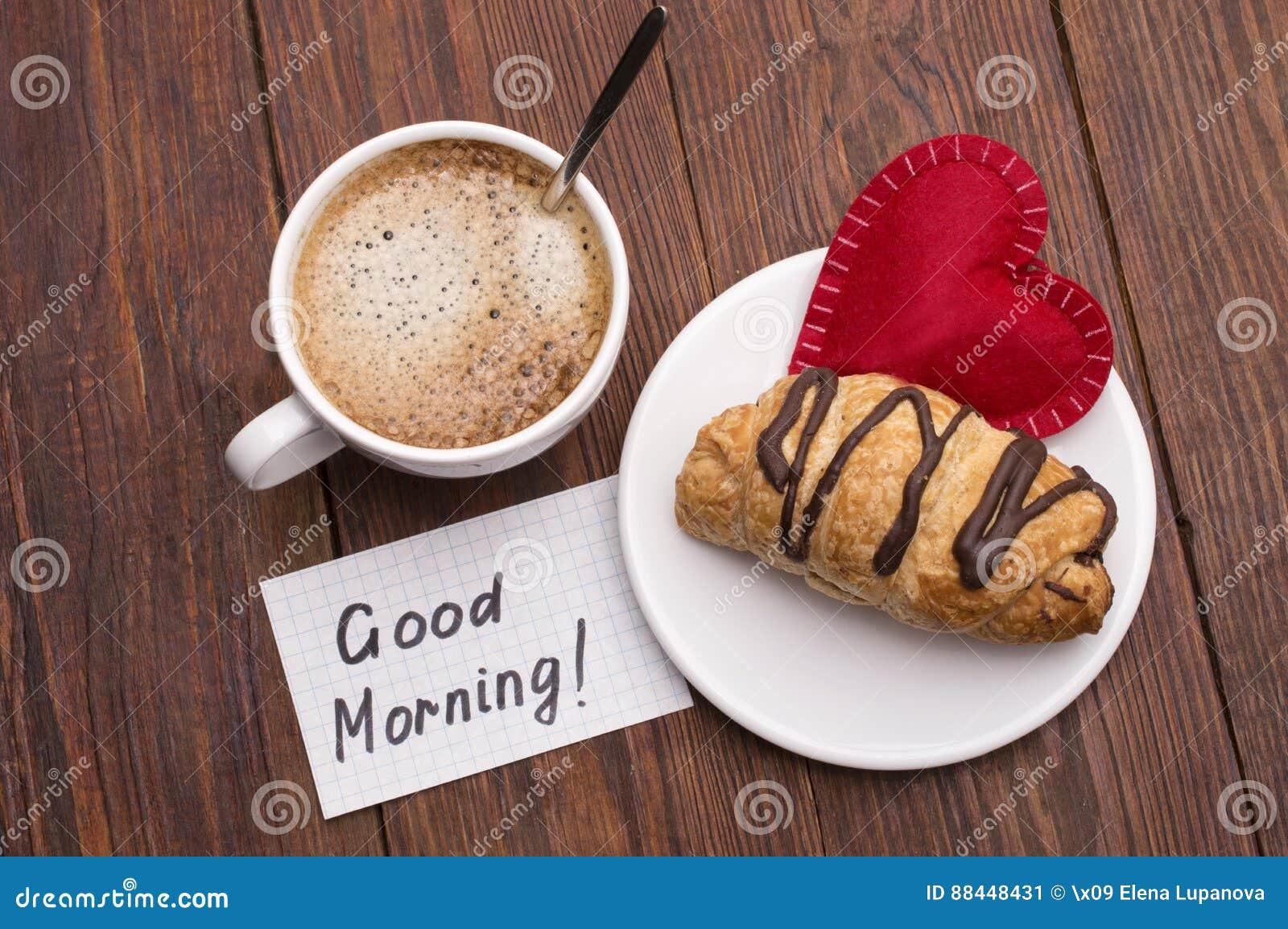 Tasse Kaffee Rotes Herz Und Massage Des Guten Morgens