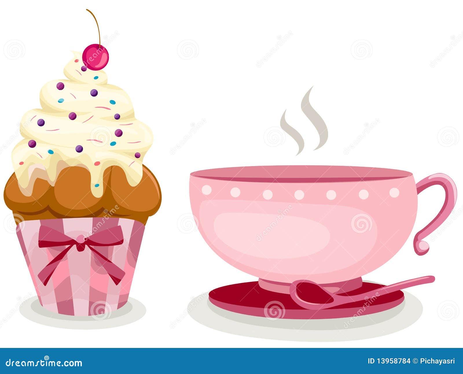 Tasse Kaffee und netter Cupkuchen