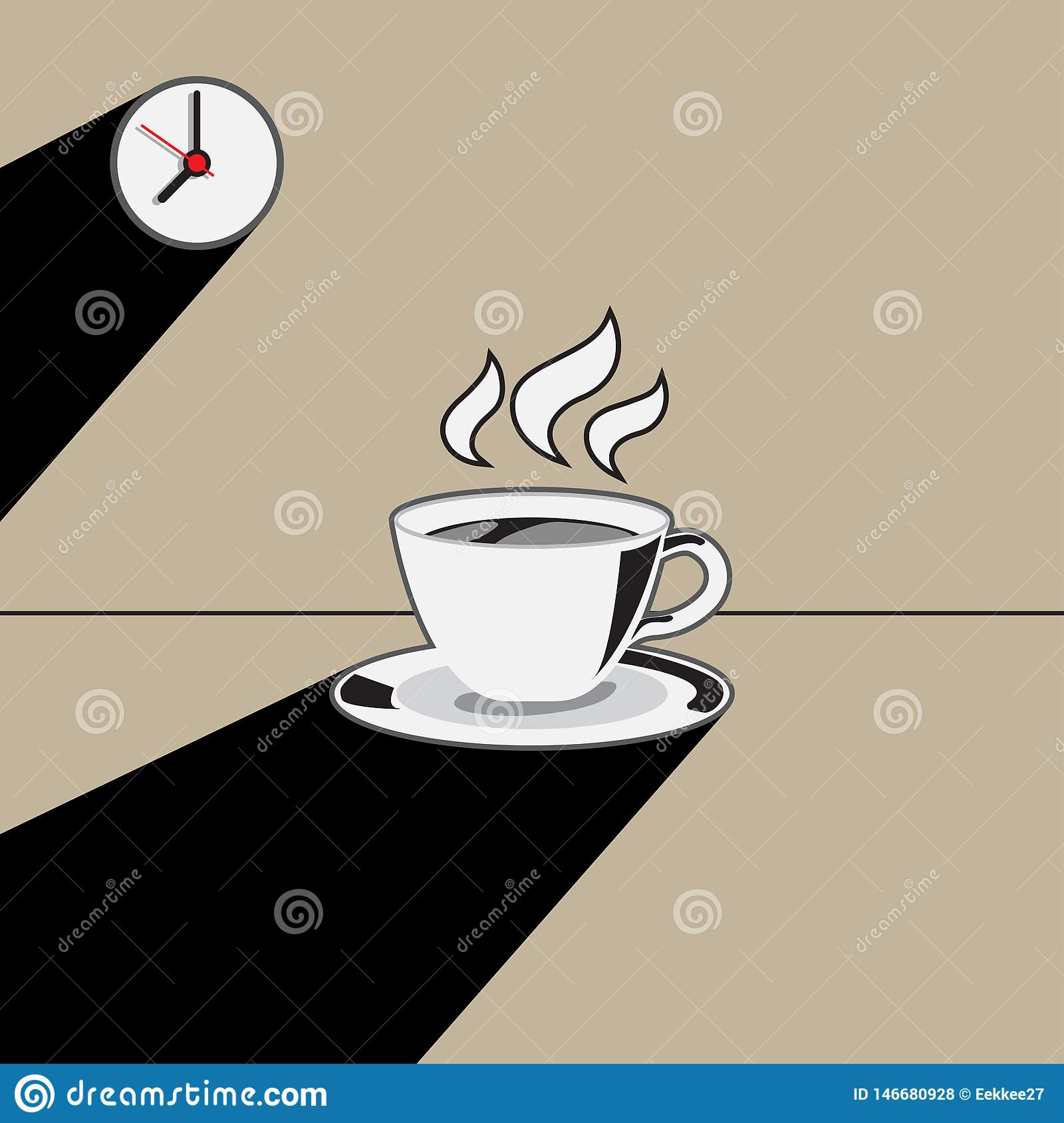 Tasse Kaffee und Uhr mit langer Schatten-Illustration