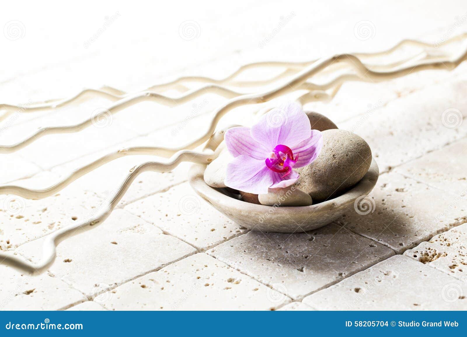 Tasse Minerale Avec Des Pierres Et Fleur Pour L Attitude De Zen