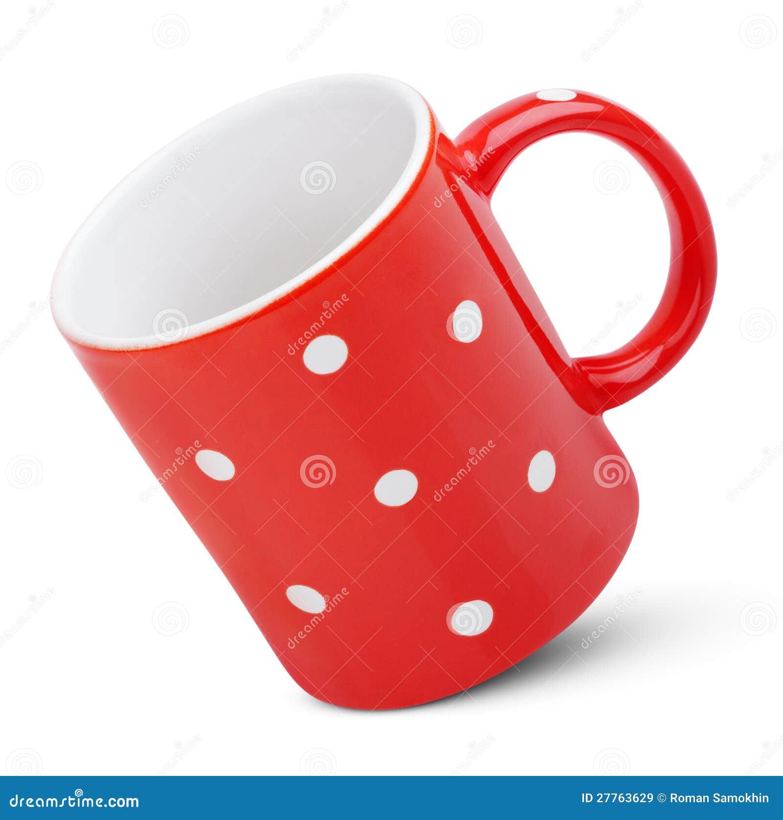 Tasse rouge avec le point de polka