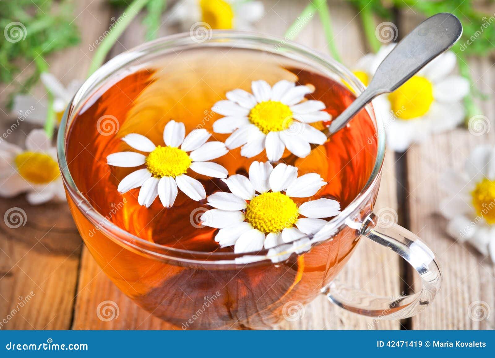 Tasse Tee mit Kamillenblumen