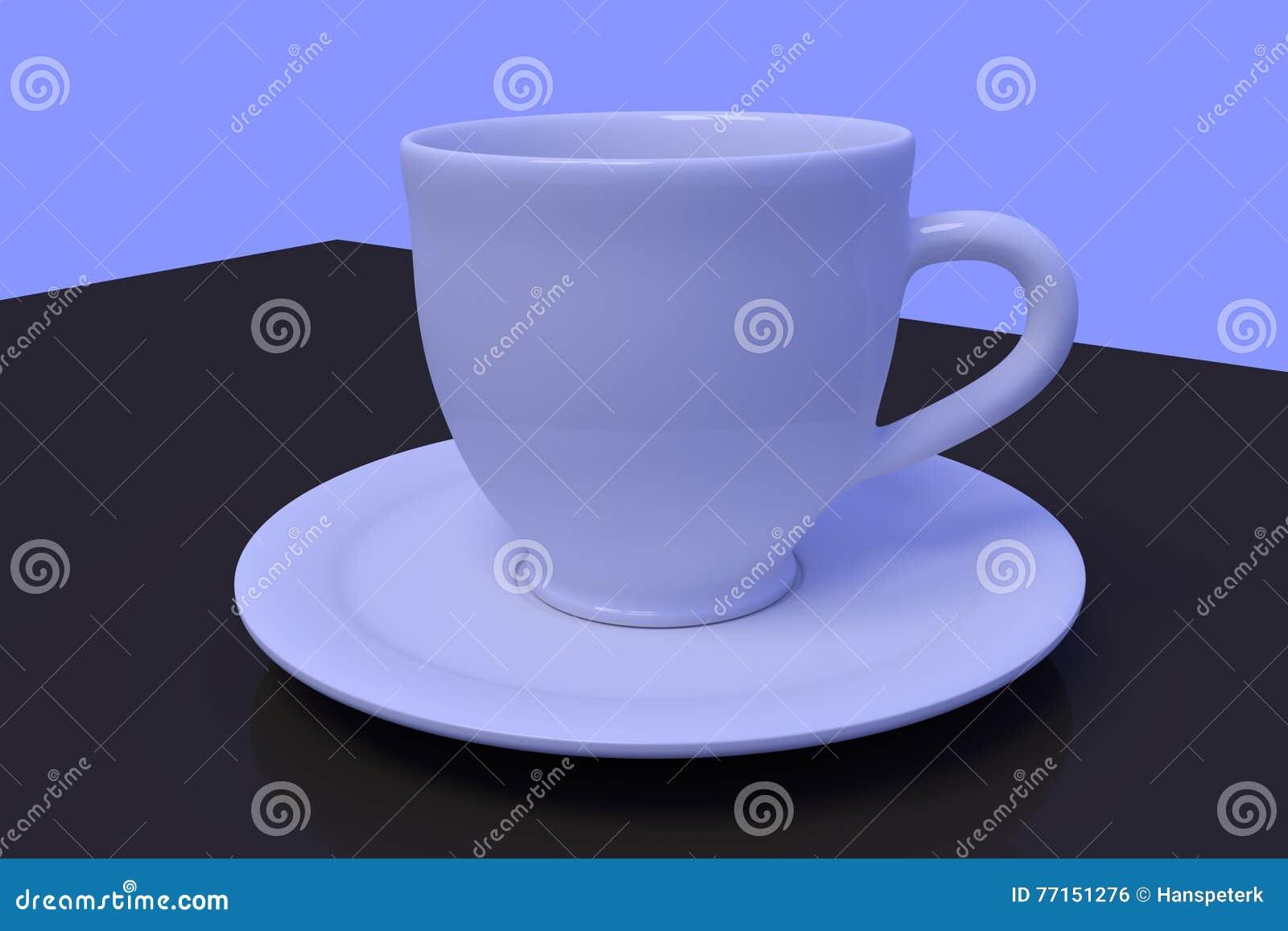 Tasses de café blanc avec la soucoupe sur une surface réfléchie foncée
