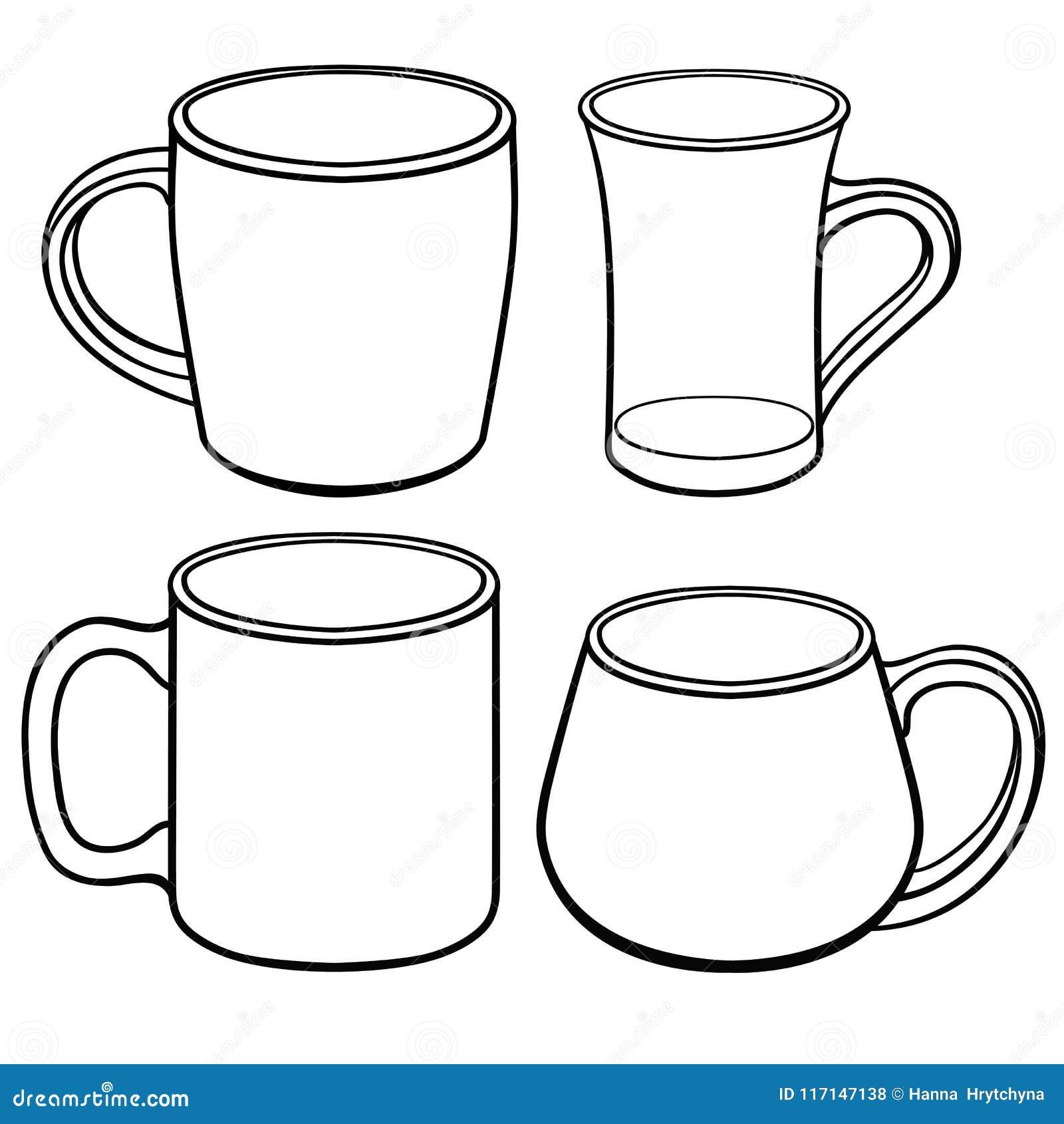 Tasses et tasses pour le thé de différentes formes Un ensemble de calibres Dessin au trait Pour la coloration