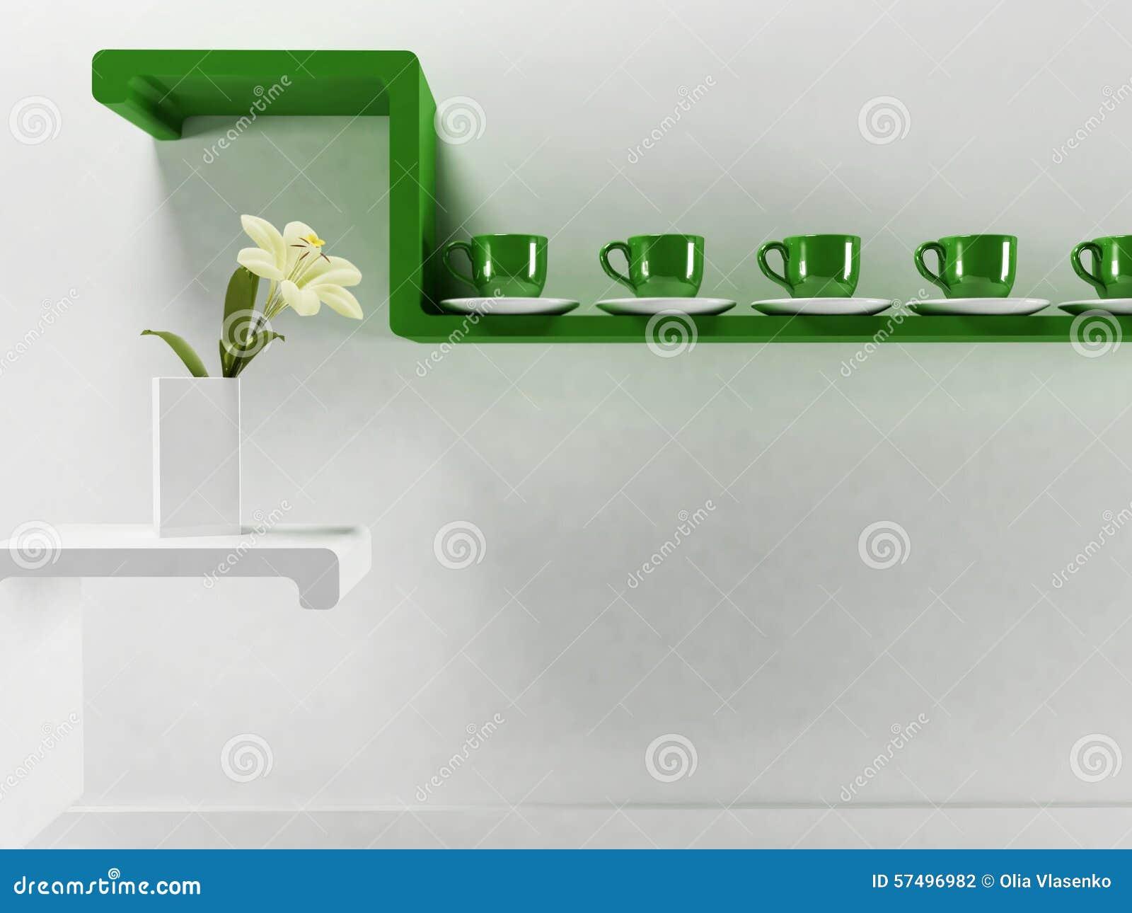 Tasses sur l'étagère verte illustration stock. Illustration du