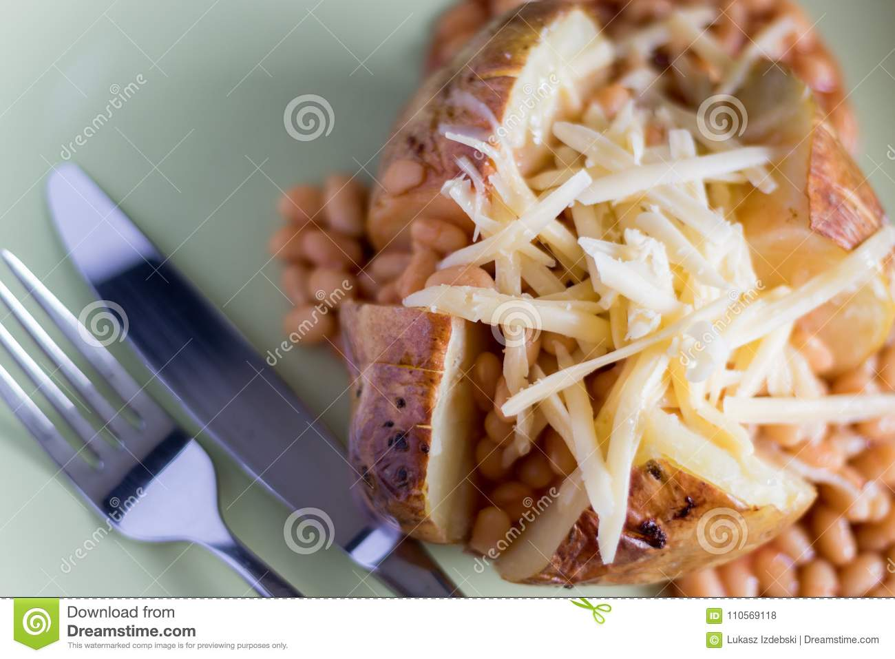 Jacket Potato With Baked Beans And Grated Cheese Stock Photo Image