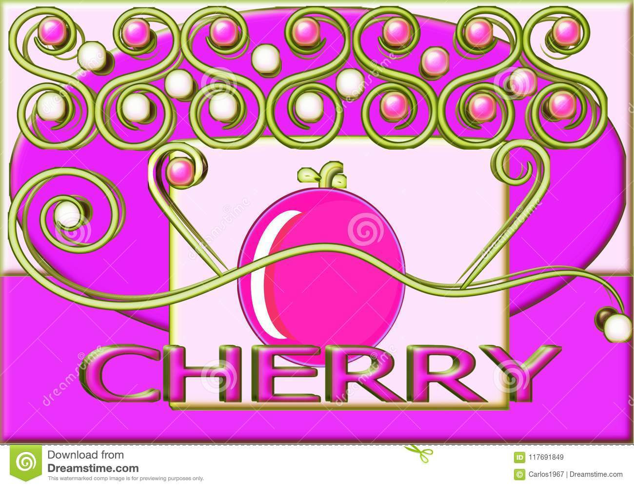 Cherry With Text In English And Watermarks On Rose Background