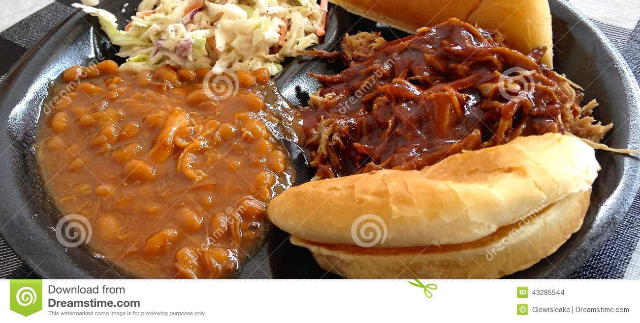Bbq Beans Cole Plate Pork Pulled Slaw Southern