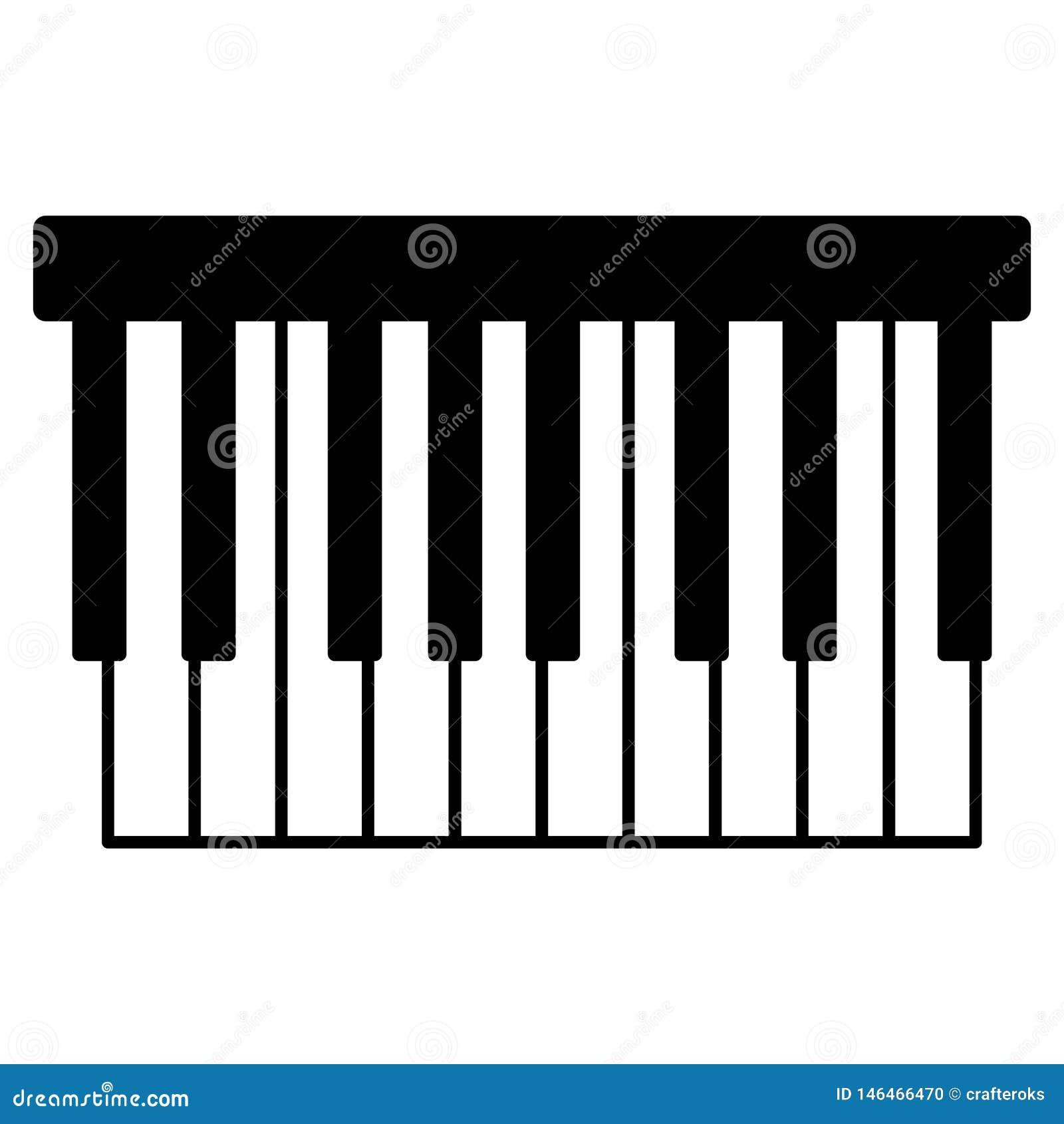 Tastiera di piano, disegnata a mano, vettore, ENV, logo, icona, illustrazione della siluetta dai crafteroks per gli usi different