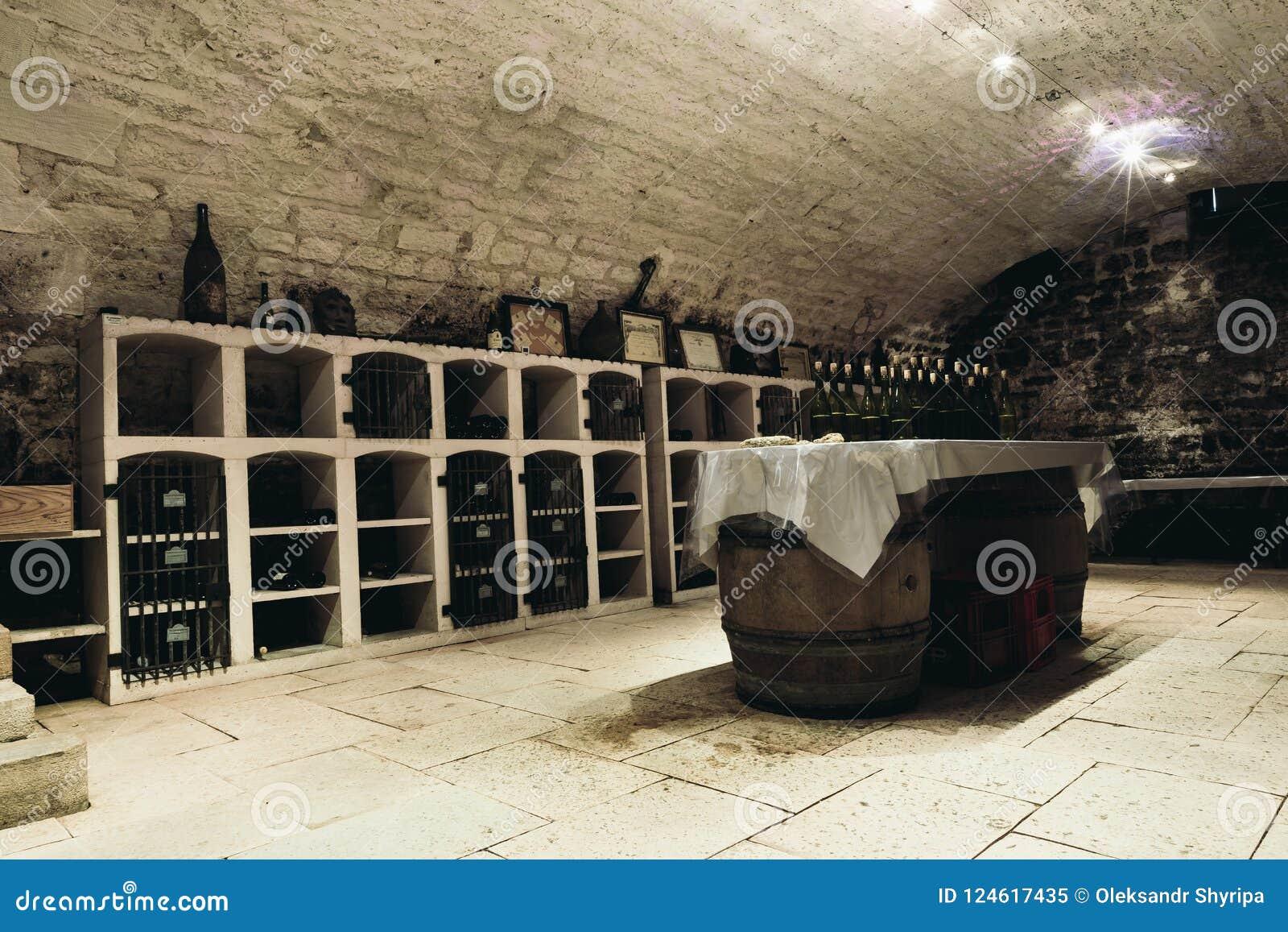 Tasting room in the wine cellar