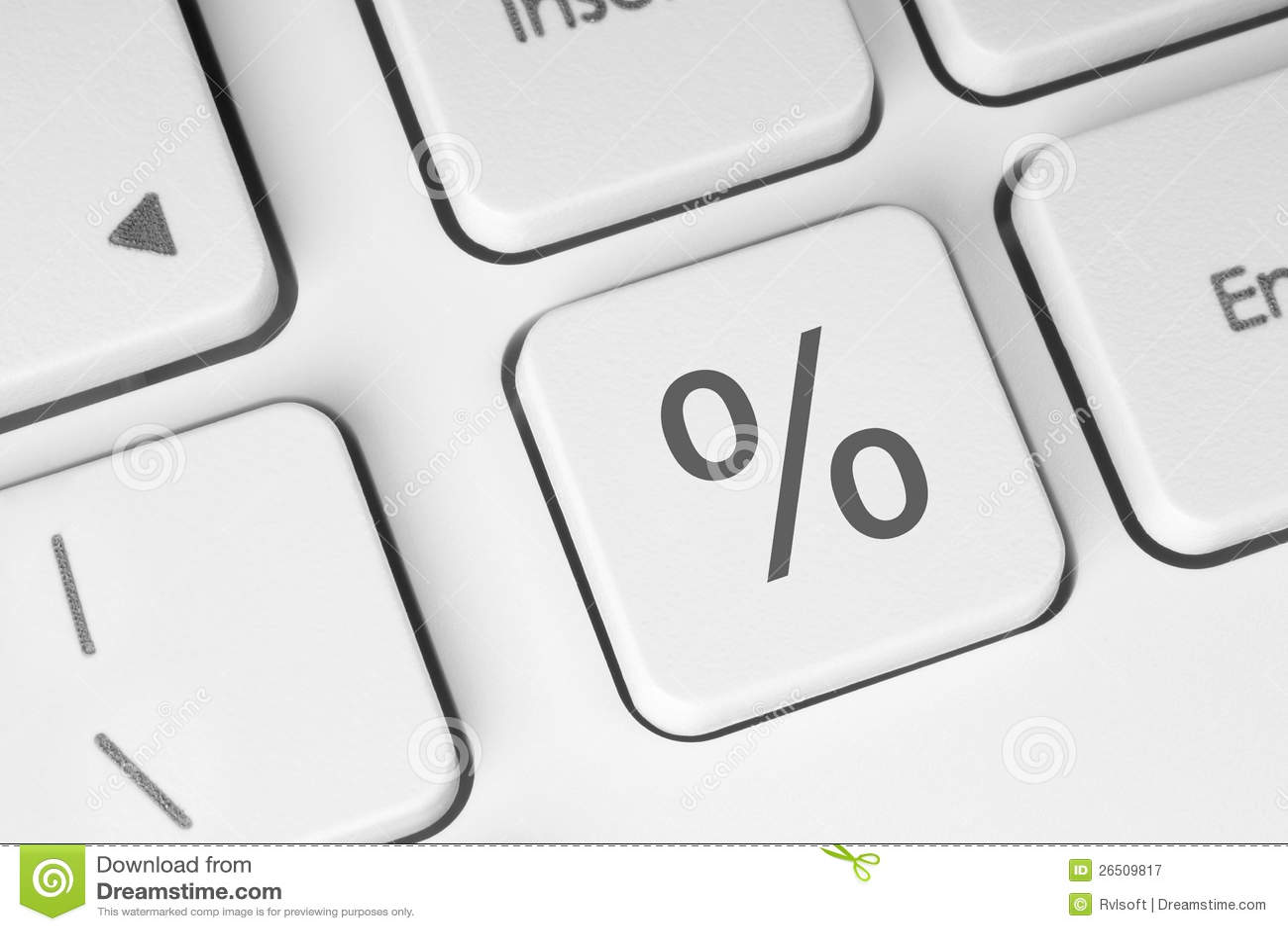 Tasto bianco della tastiera delle percentuali