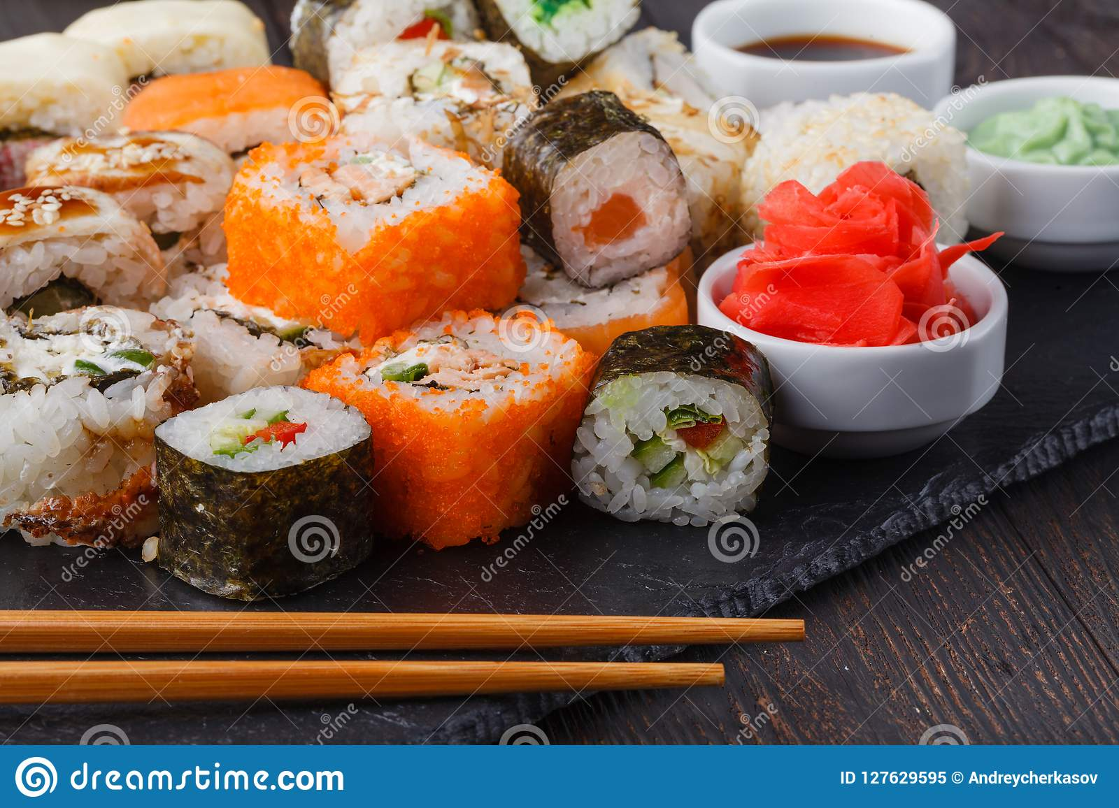 Tasty Appetizing Multicolored Sushi Rolls Set, Served With ...