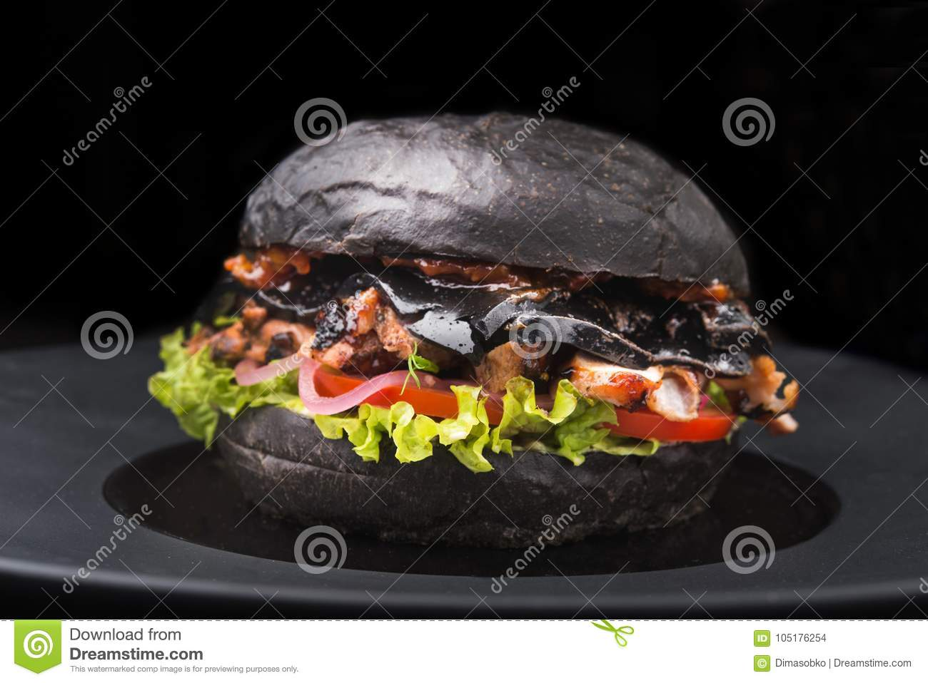 Tasty Black Burger With Beef