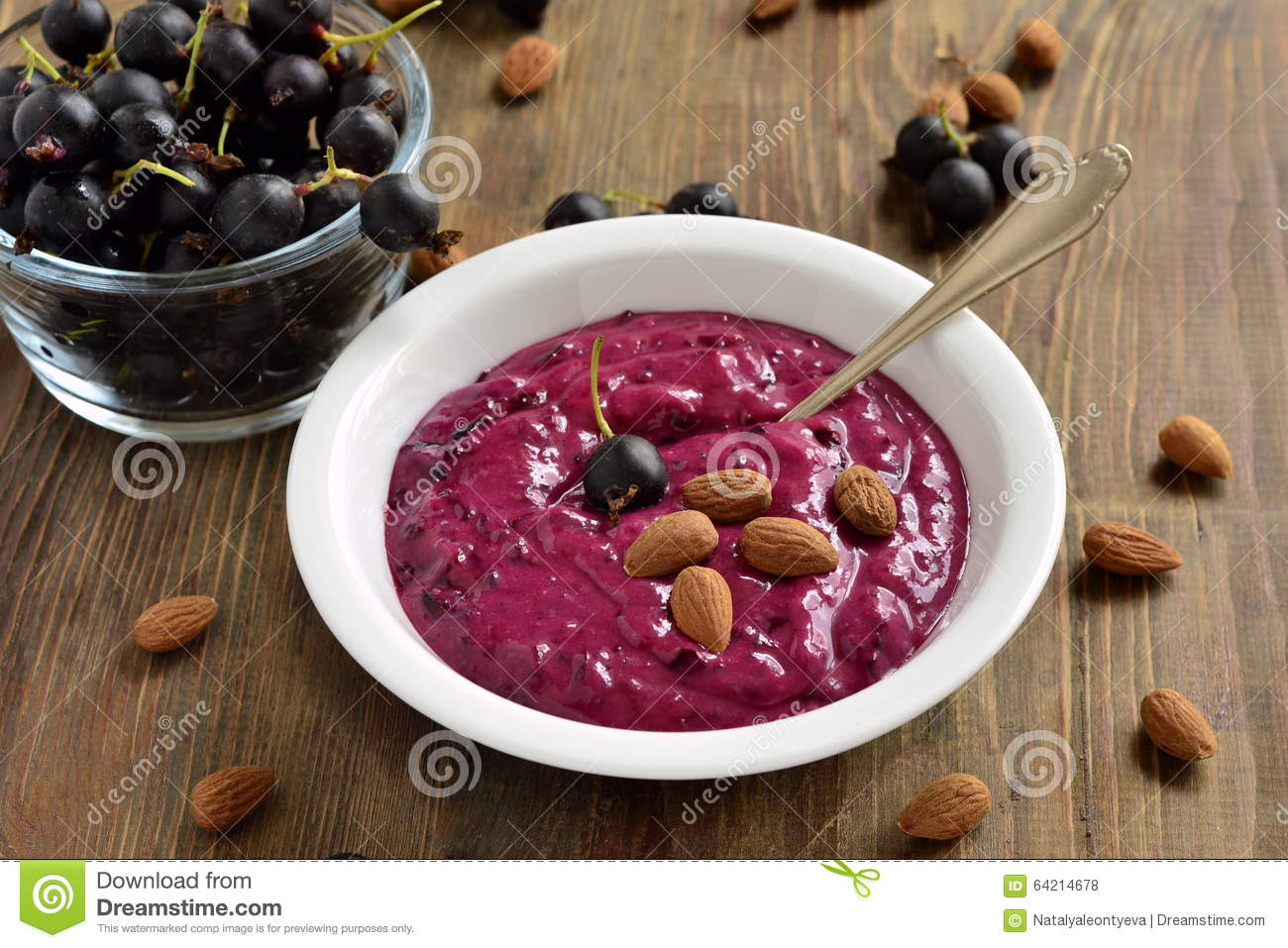 Download Tasty Black Currant Smoothie With Almonds And Berries Stock Photo Image Of Fresh