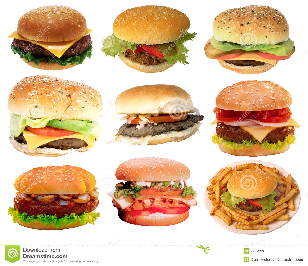 Collection of the most widespread burgers, very appetizing on a kind.