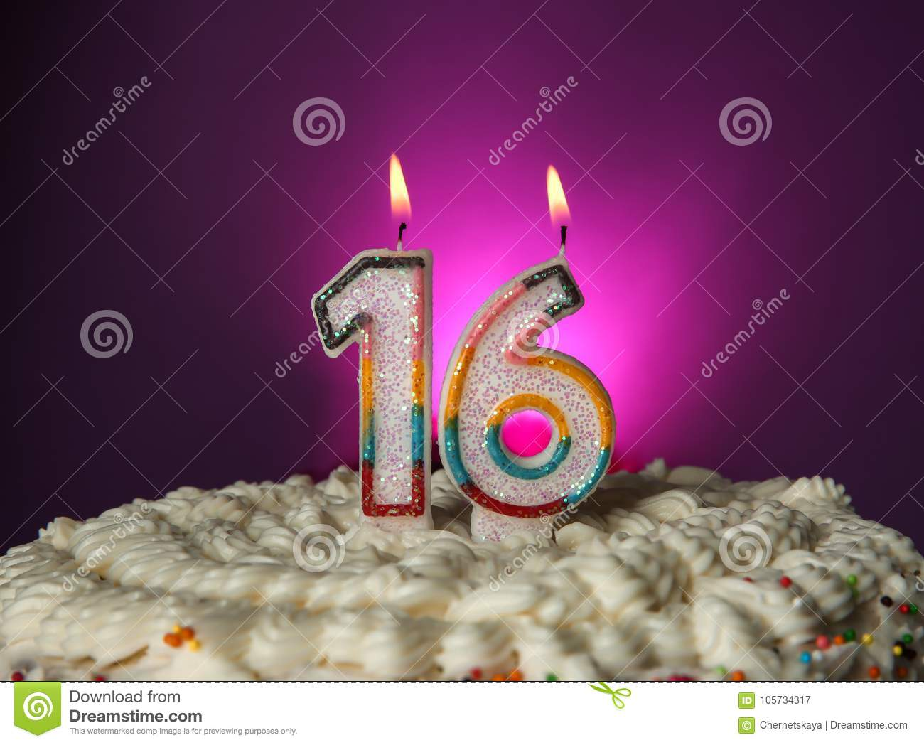 Miraculous Tasty Cake With Candles For Sixteenth Birthday Stock Image Image Personalised Birthday Cards Epsylily Jamesorg