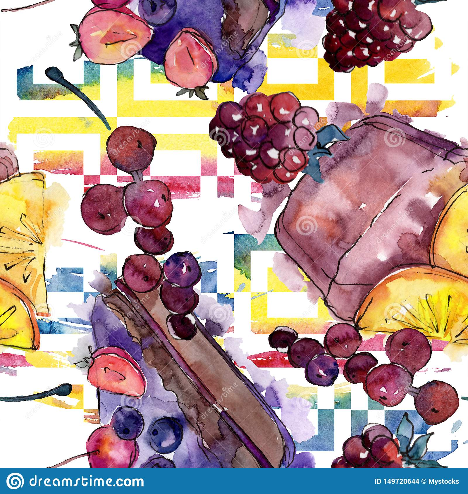 Tasty cake in a watercolor style. Watercolour illustration set. Seamless background pattern.