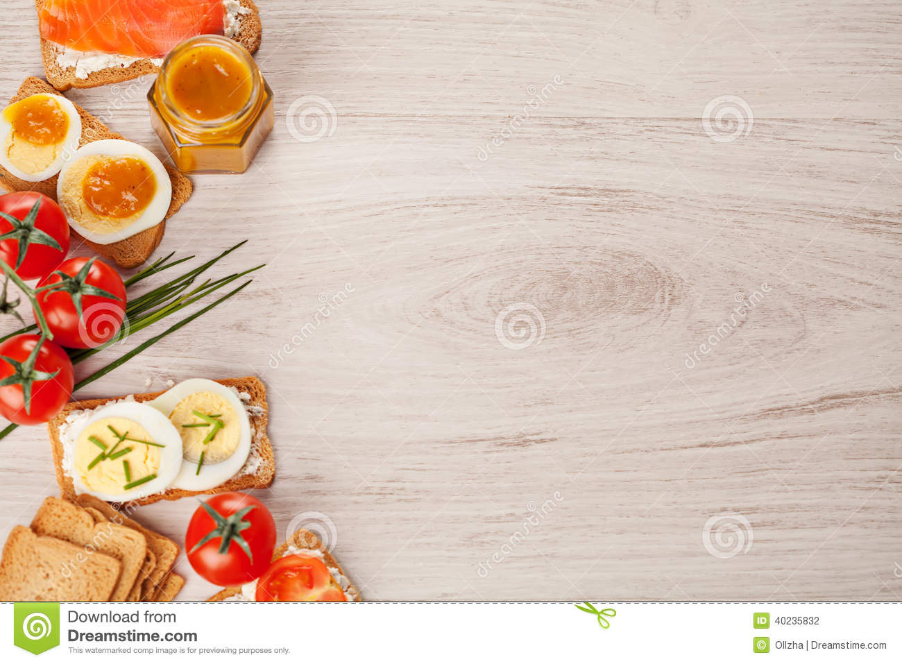 Tasty Canapes Food Border Light Background Stock Photo