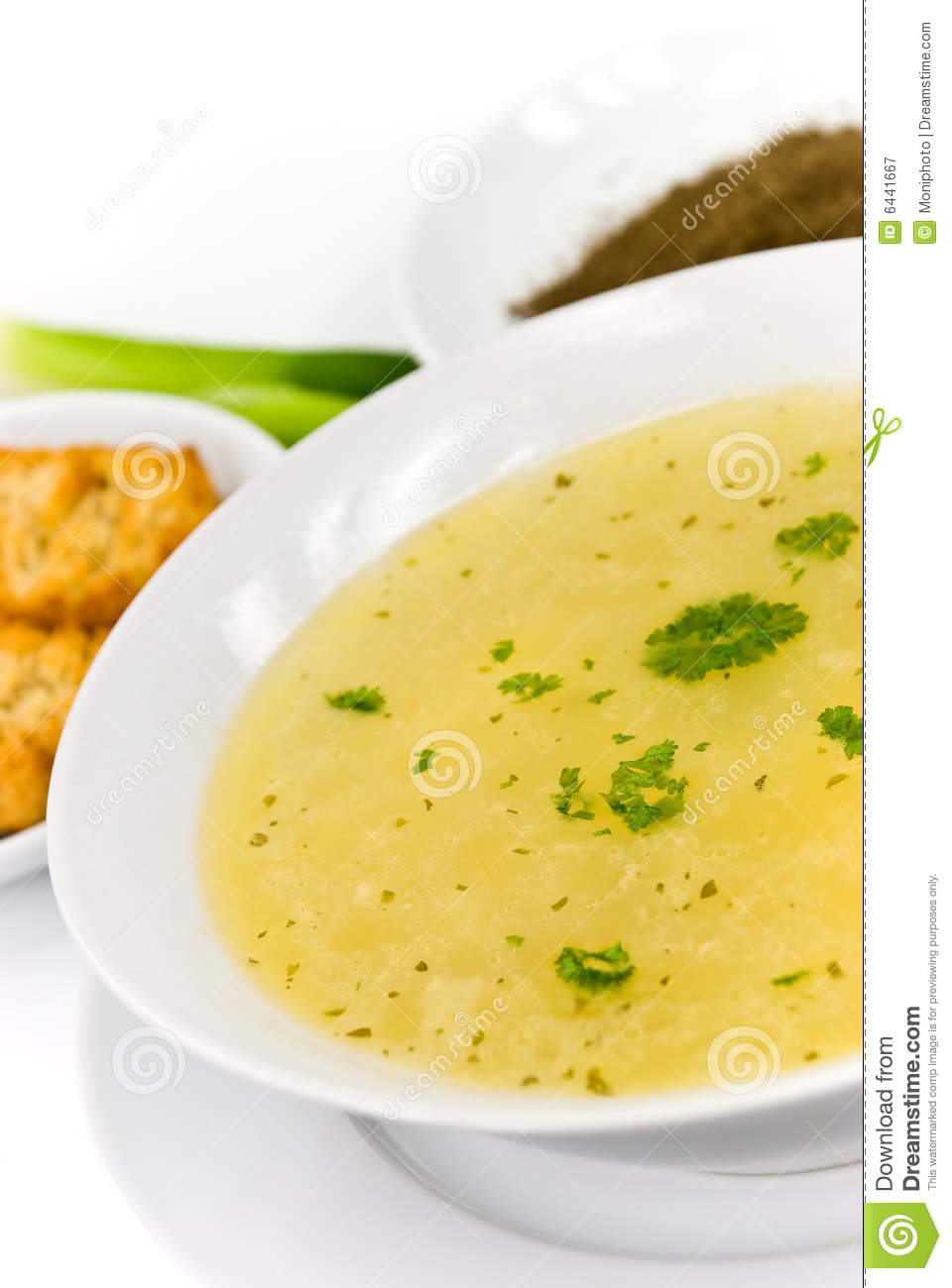 Tasty chicken soup with noodles