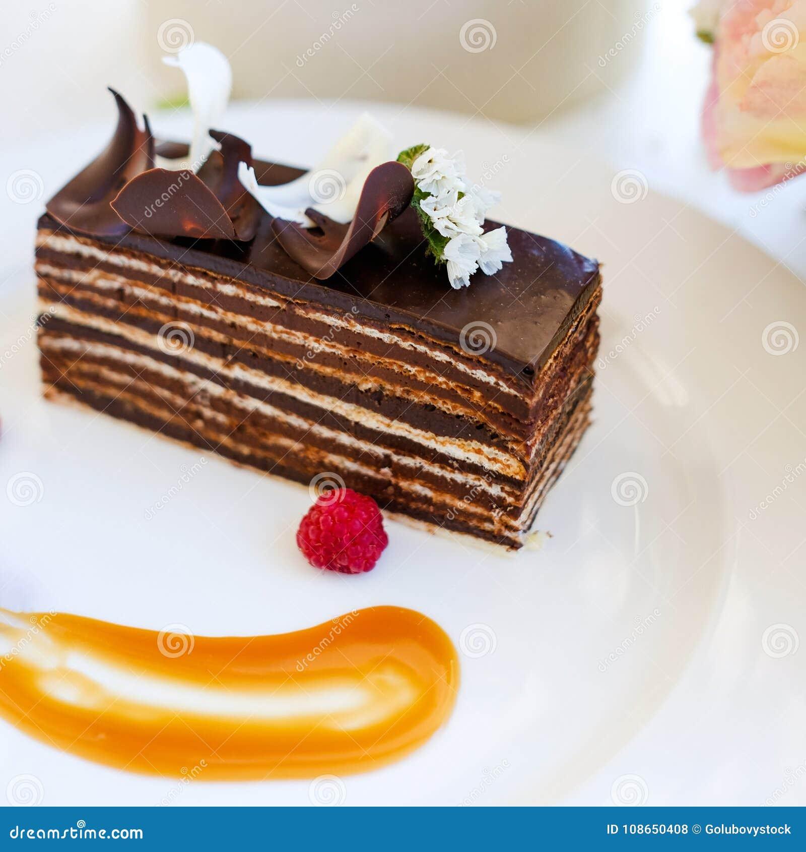 Tasty Chocolate Cake Dessert Recipe Stock Photo - Image of ...