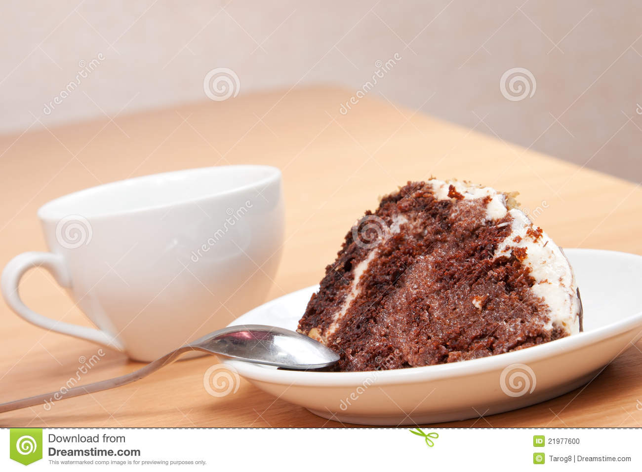 Tasty Chocolate Cake Images : Tasty Chocolate Cake On A Plate With A Cup Stock Photo ...