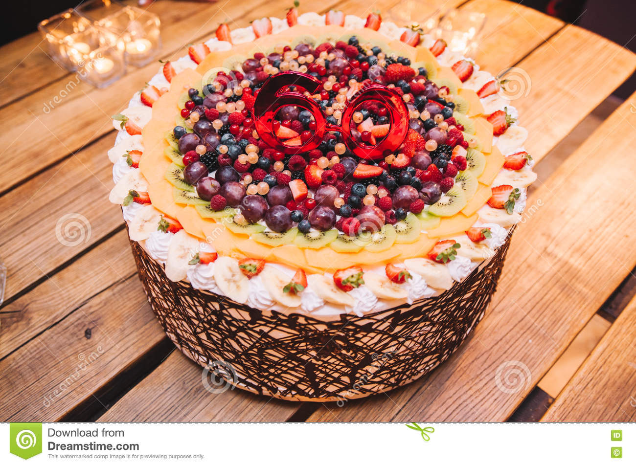 Tasty Colorful And Delicious Fruit Cake For A 60th Birthday Party